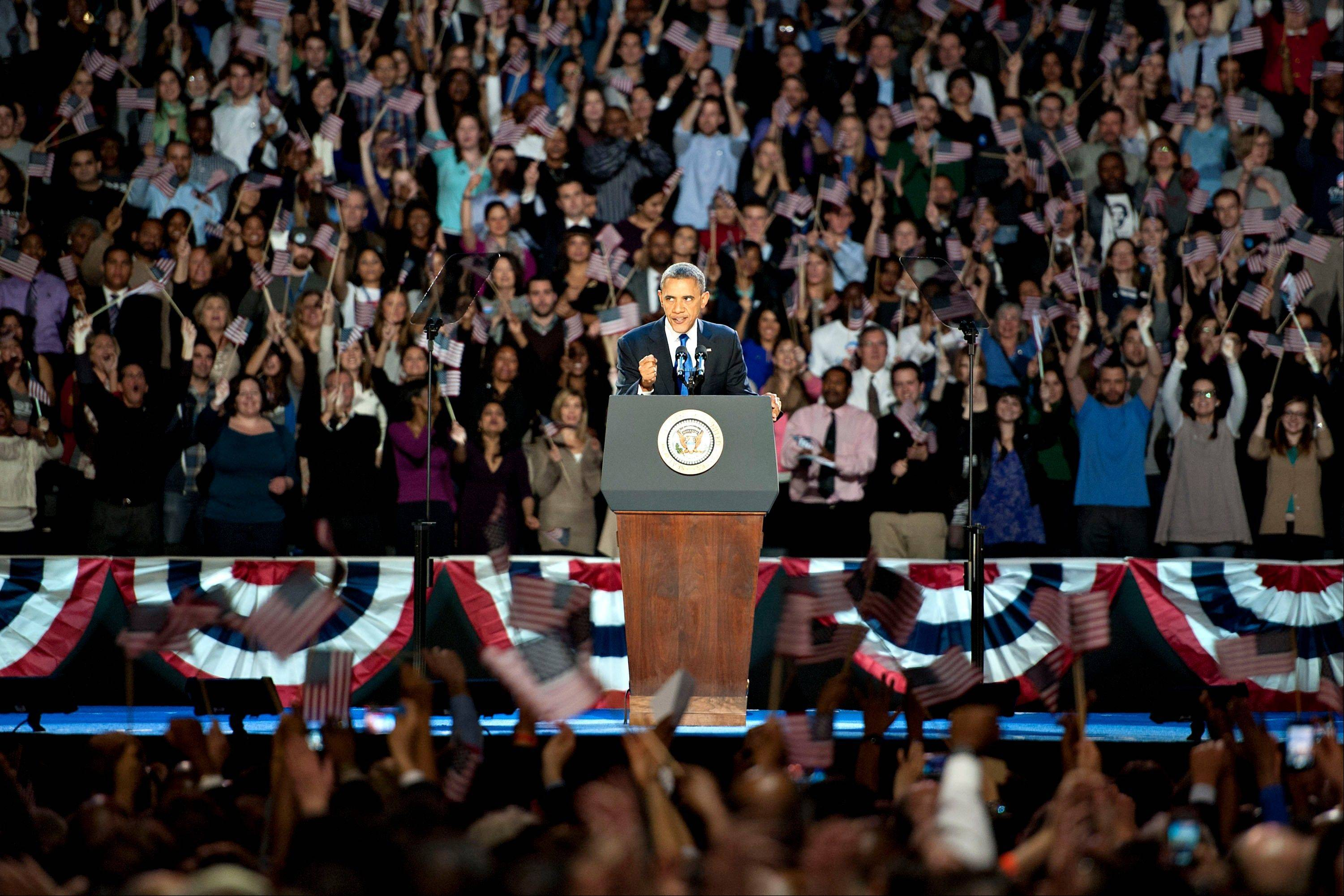 U.S. President Barack Obama makes an acceptance speech during an election night rally in Chicago.