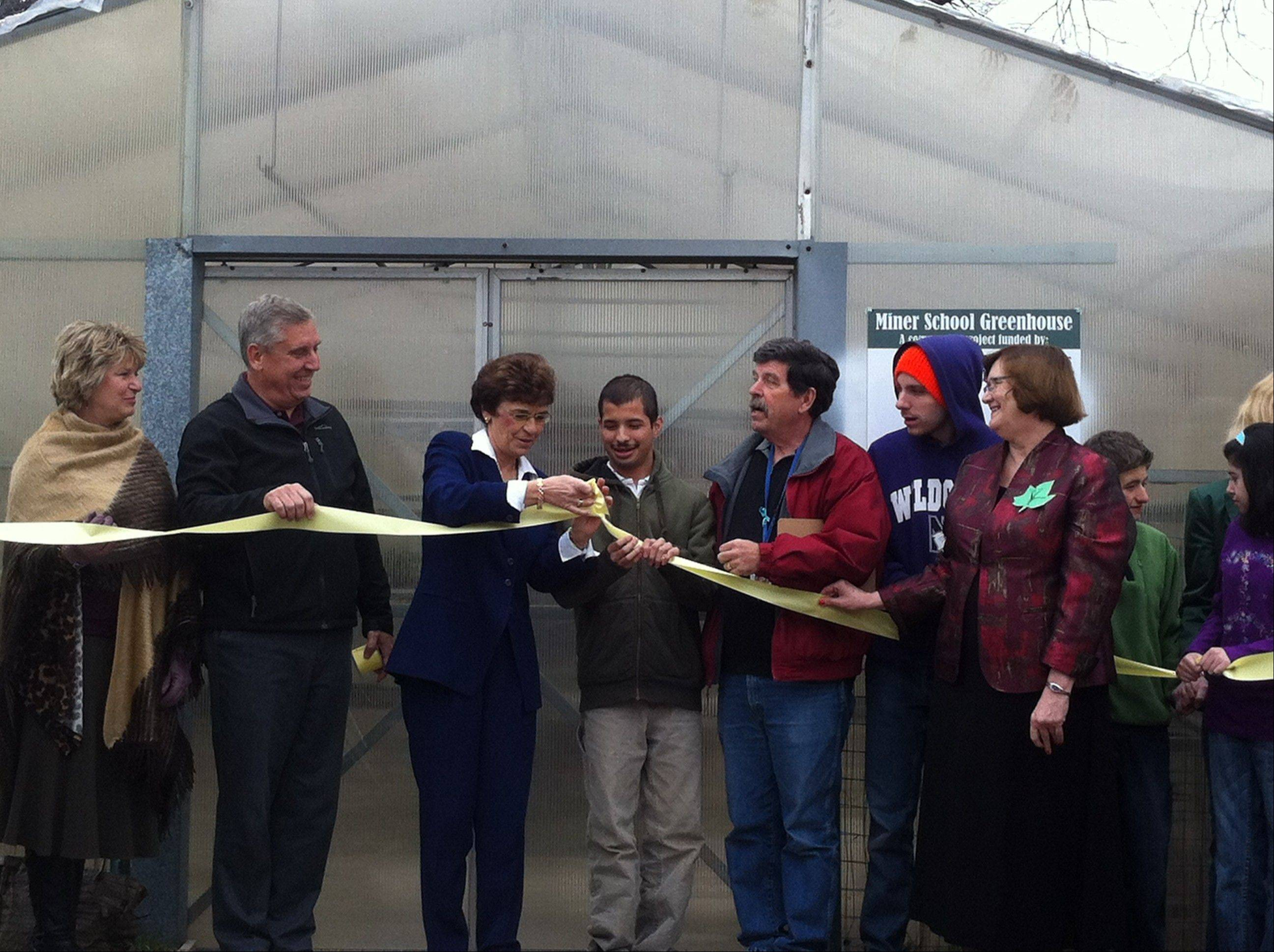 Arlington Heights Village President Arlene Mulder joins community members and students Tuesday in tying the ribbon, as opposed to cutting the ribbon, at the dedication for the Miner School Greenhouse.