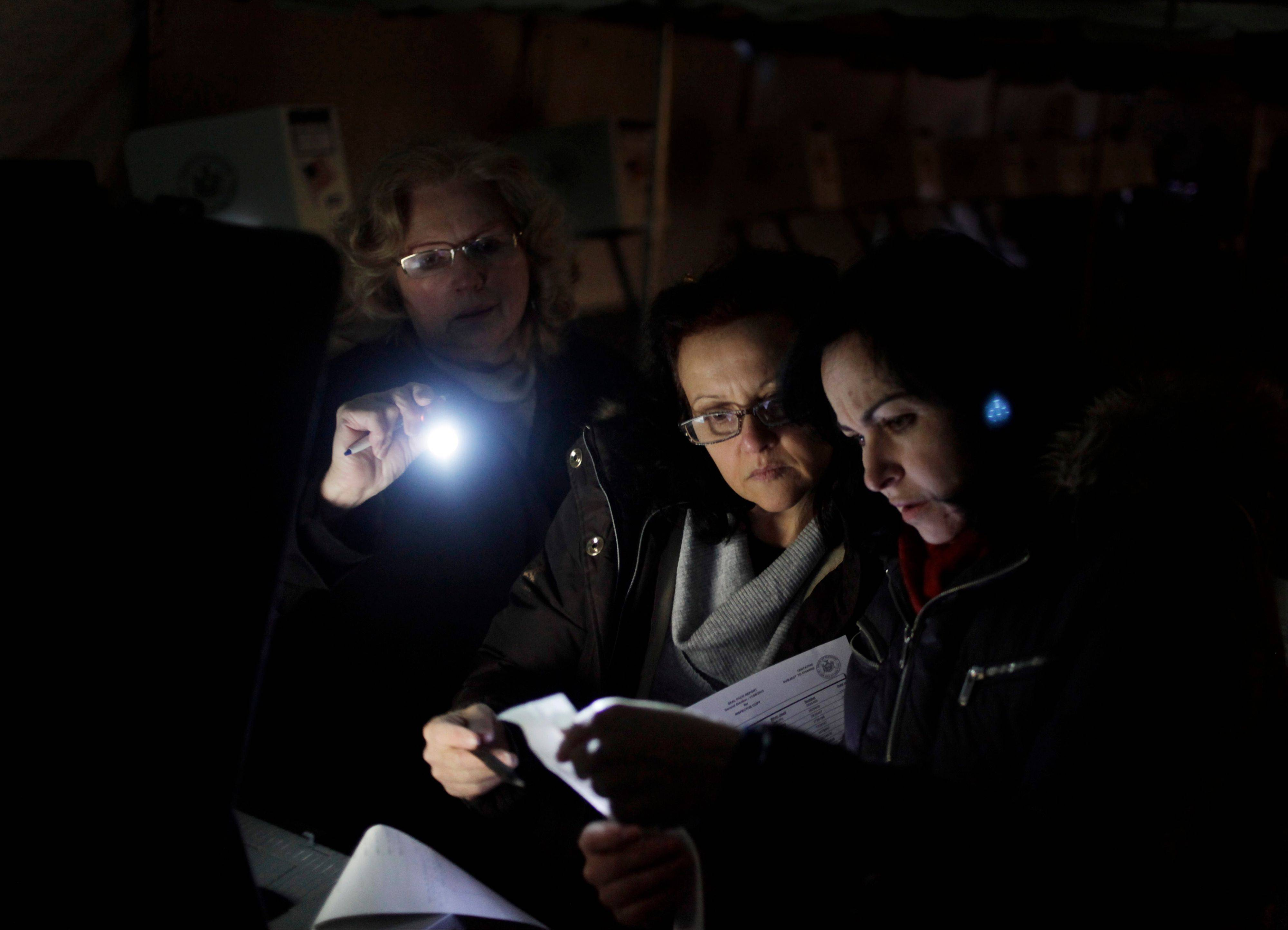 Poll workers Eva Prenga, right, Roxanne Blancero, center, and Carole Sevchuk try to start an optical scanner voting machine in the cold and dark at a polling station in a tent in the Midland Beach section of Staten Island, New York, Tuesday, Nov. 6, 2012. The original polling site, a school, was damaged by Superstorm Sandy.