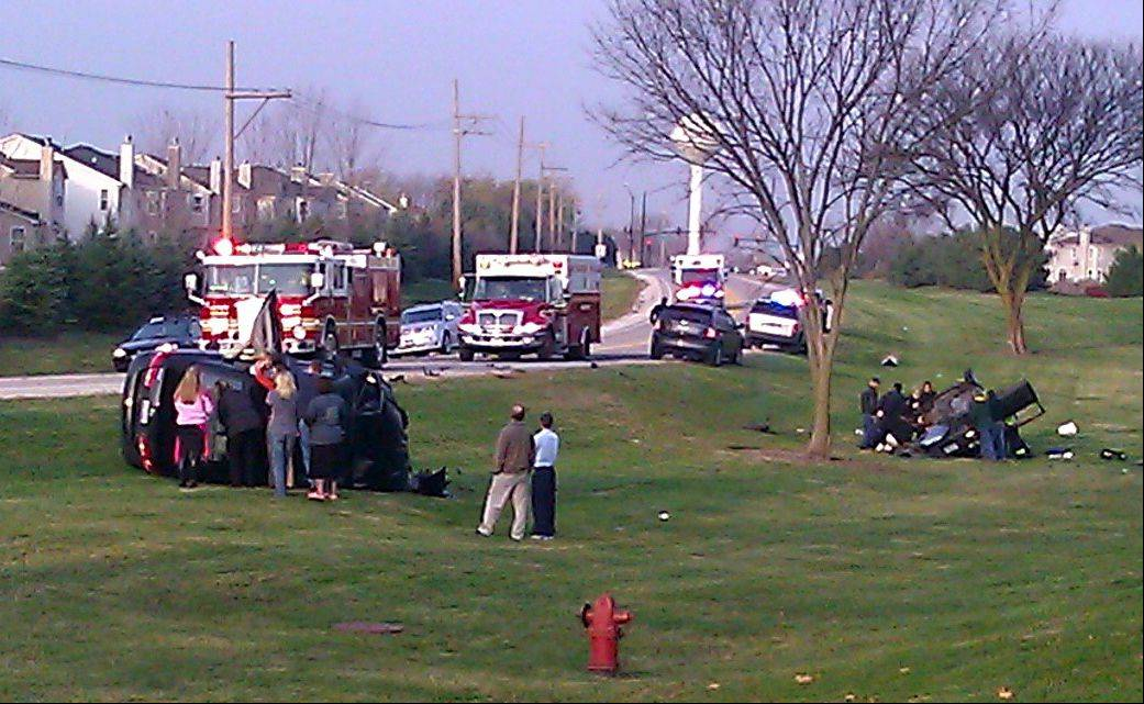 The scene of an accident on Gilmer Road in Wauconda Tuesday morning. Two people were injured in the head-on accident.