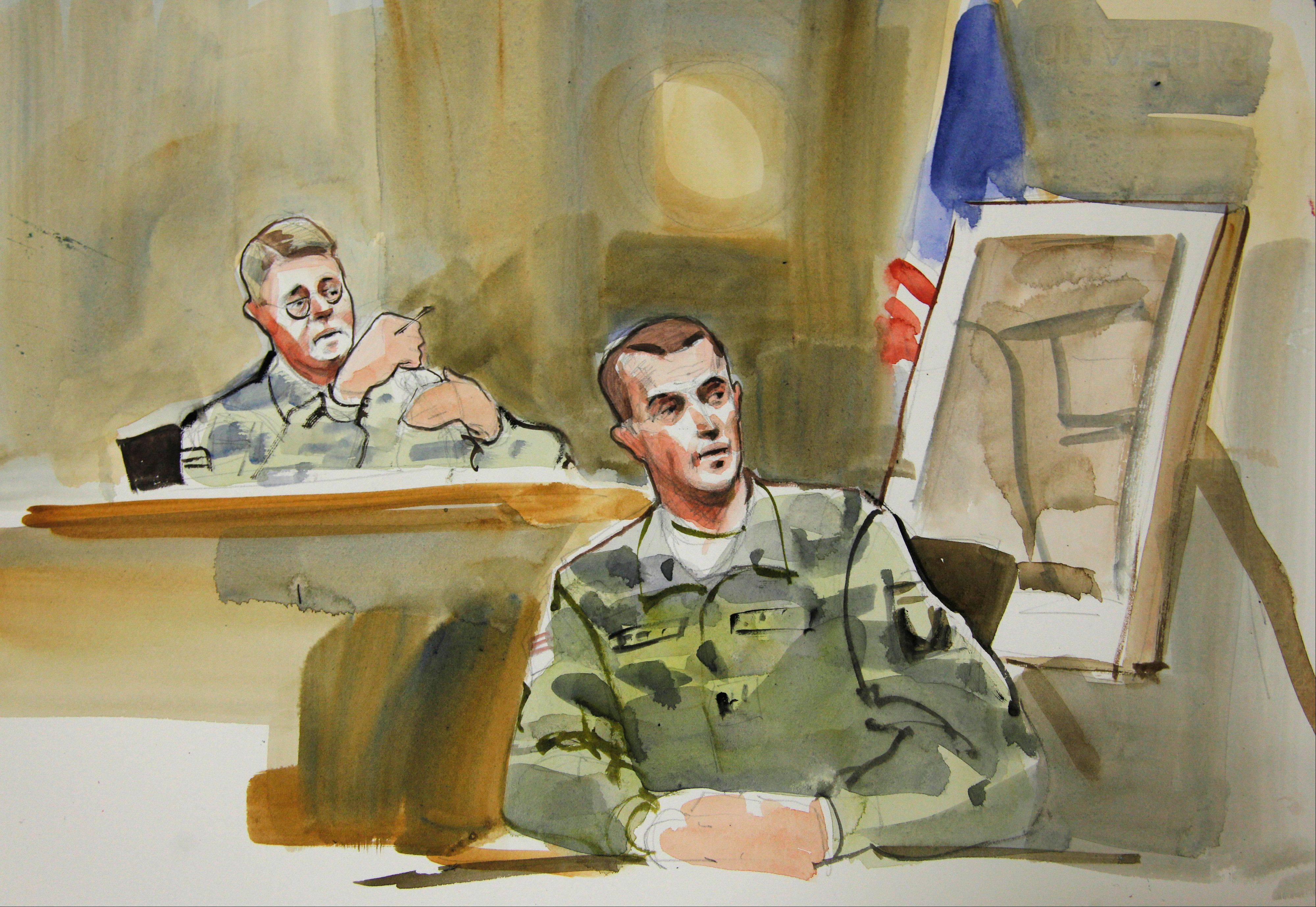 In this courtroom sketch, Capt. Daniel Fields, right, a prosecution witness in the military preliminary hearing of U.S. Army Staff Sgt. Robert Bales, testifies in a military courtroom at Joint Base Lewis McChord in Washington state, Monday, Nov. 5, 2012. At upper left is Investigating Officer Col. Lee Deneke.