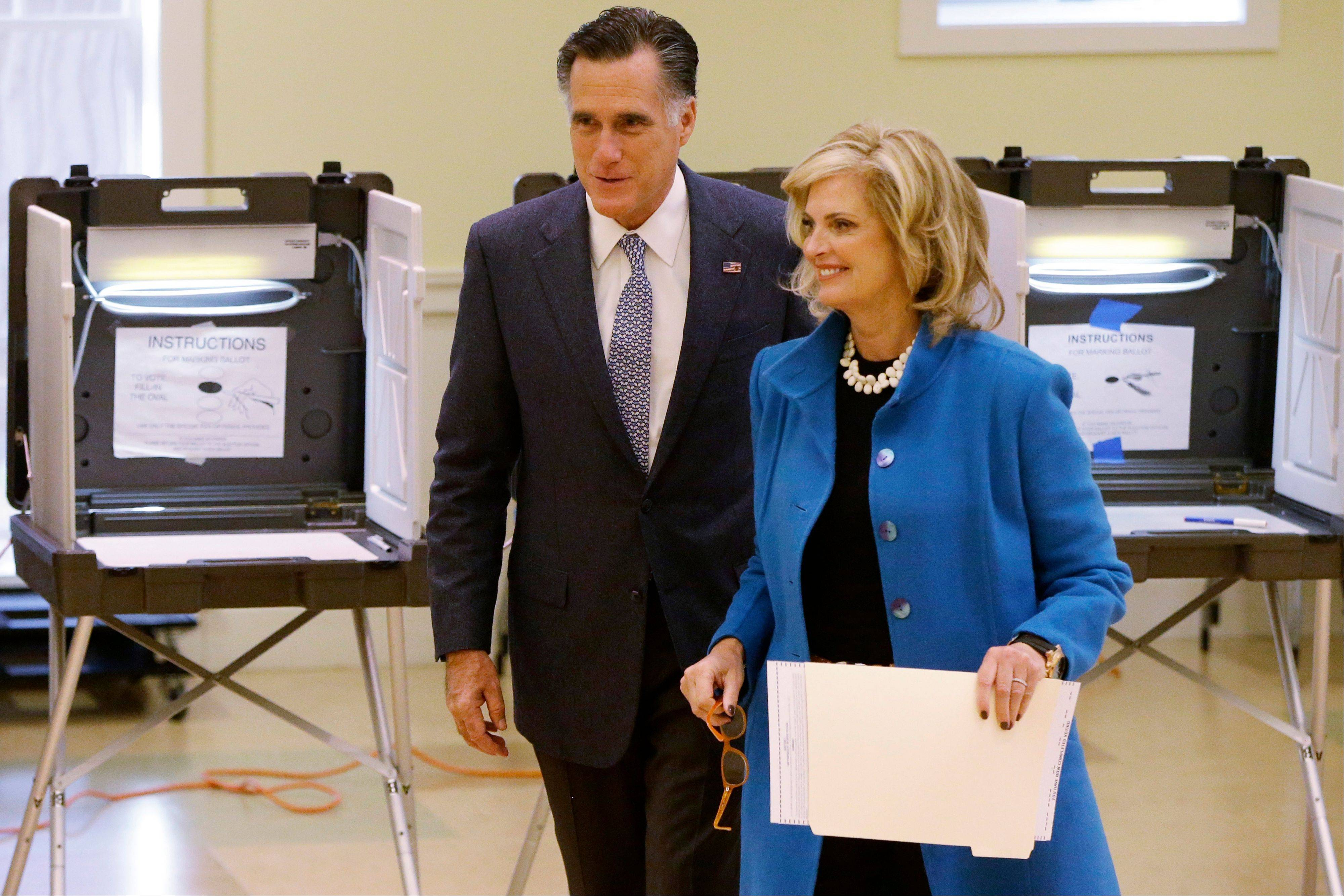 Republican presidential candidate, former Massachusetts Gov. Mitt Romney and wife Ann Romney vote in Belmont, Mass., Tuesday, Nov. 6, 2012.