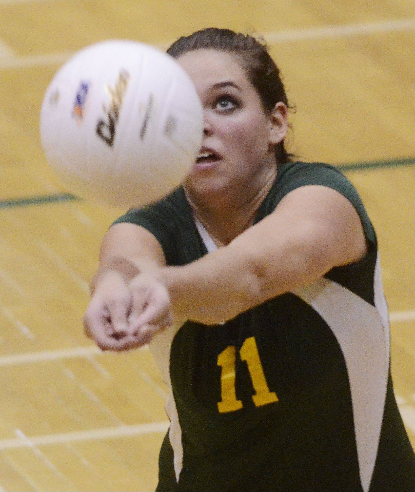 Stevenson's Alexa Bykowski hustles for a dig during Tuesday's sectional semifinal against Palatine at Fremd.