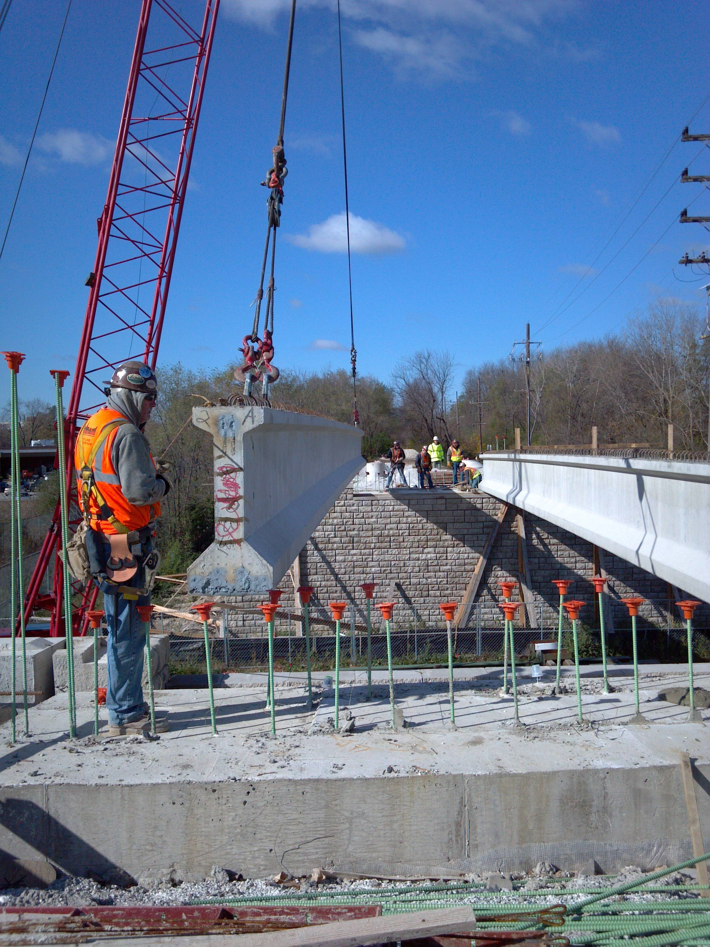 Beams were recently put in place as part of the Great Western Trail Bridge project.