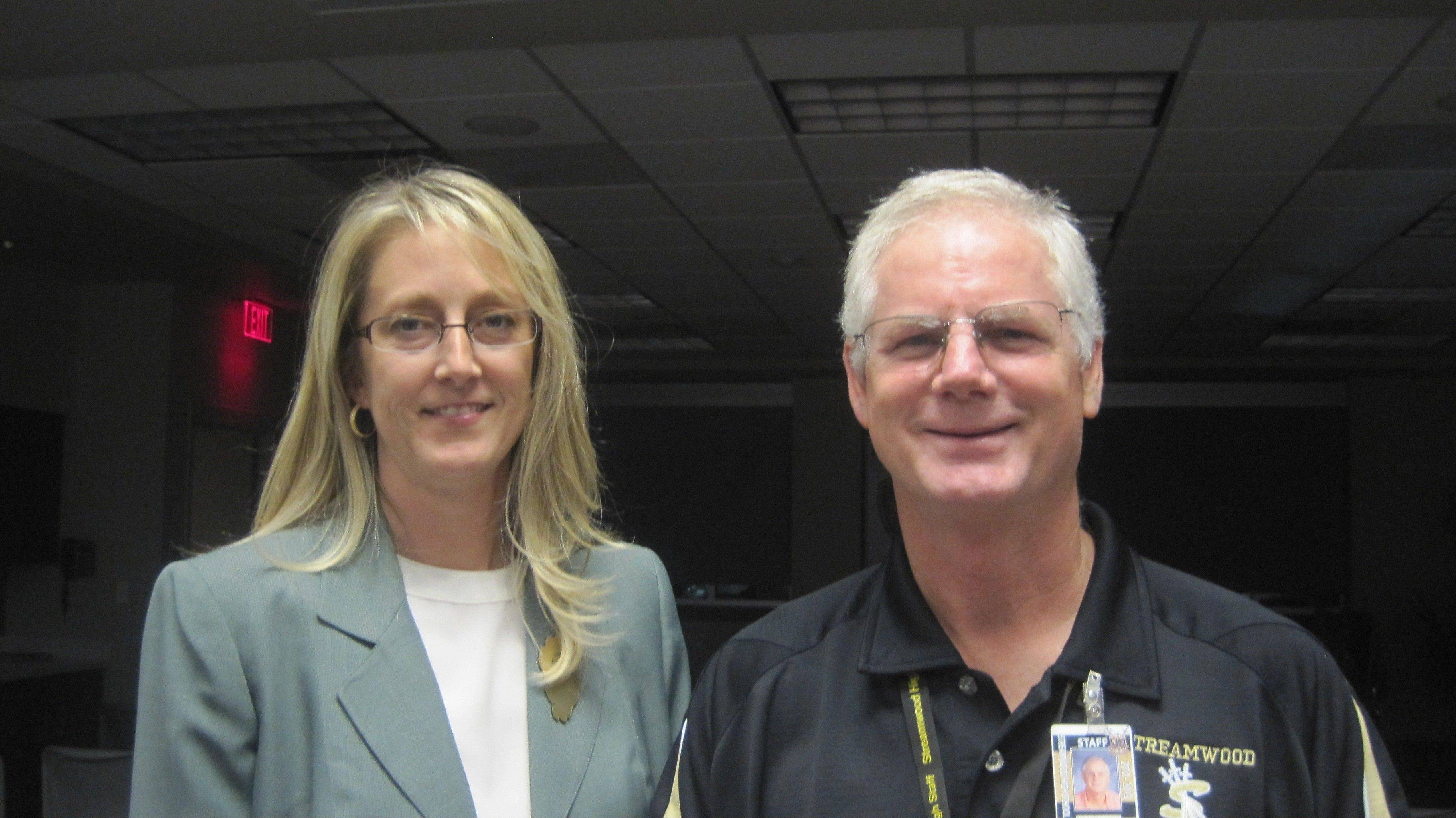 Streamwood Woman's Club member Julie Becker along with Larry Winters of the Streamwood High School Drama Program.
