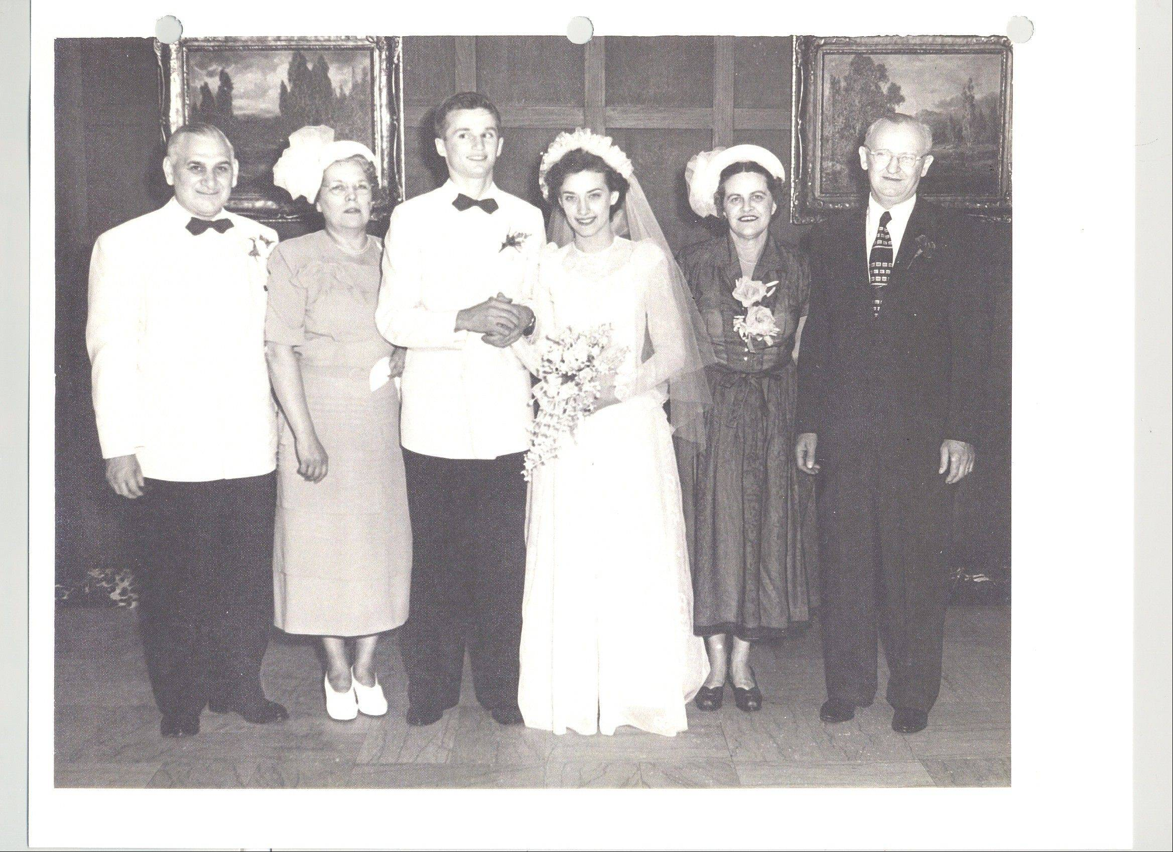From left on George and Mildred's wedding day in 1949: August Paluch; Anna Paluch; George and Mildred Halas; Ann Halas and Walter Halas.