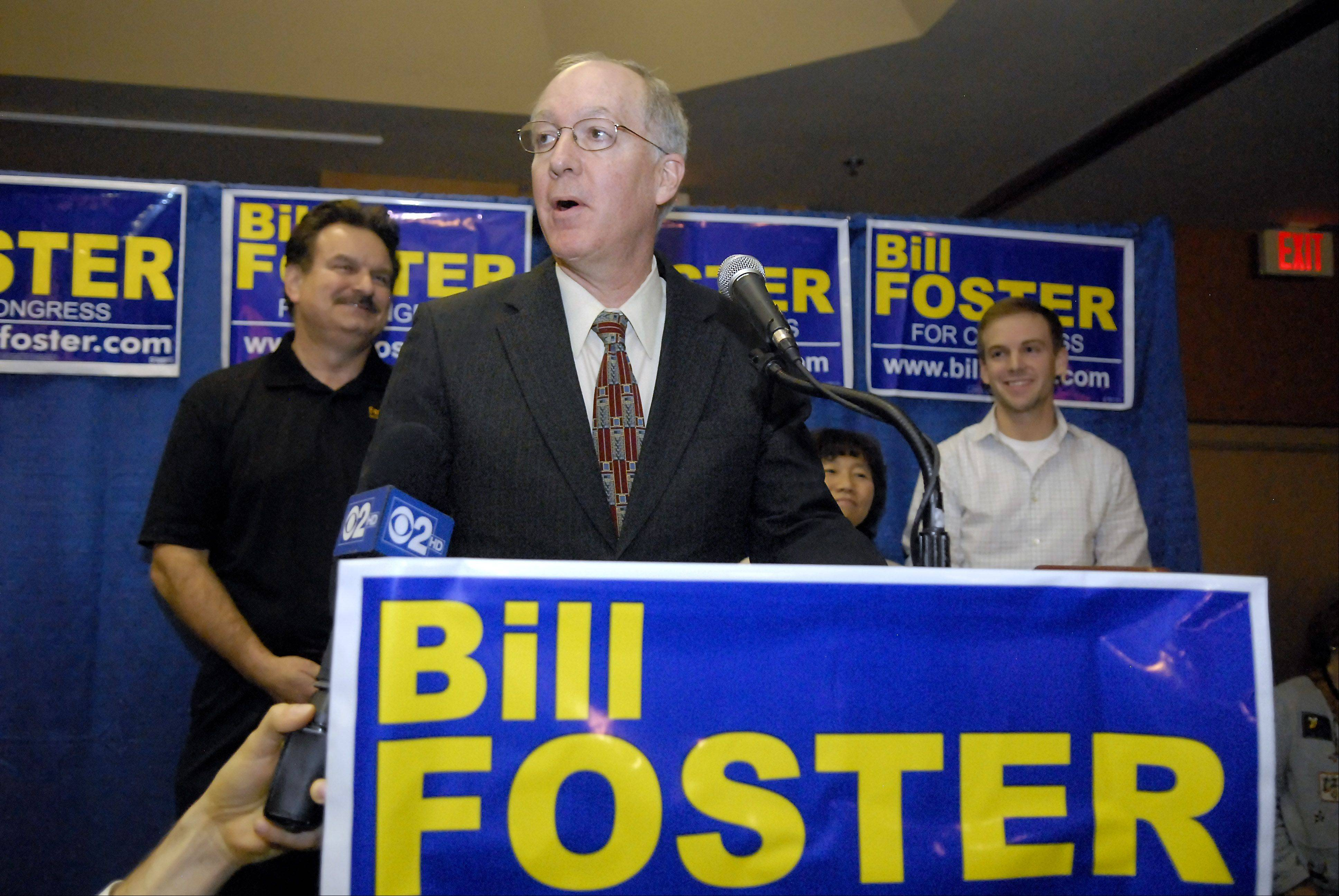 Bill Foster gives his acceptance speech Tuesday night after defeating Judy Biggert to capture the 11th Congressional District seat.
