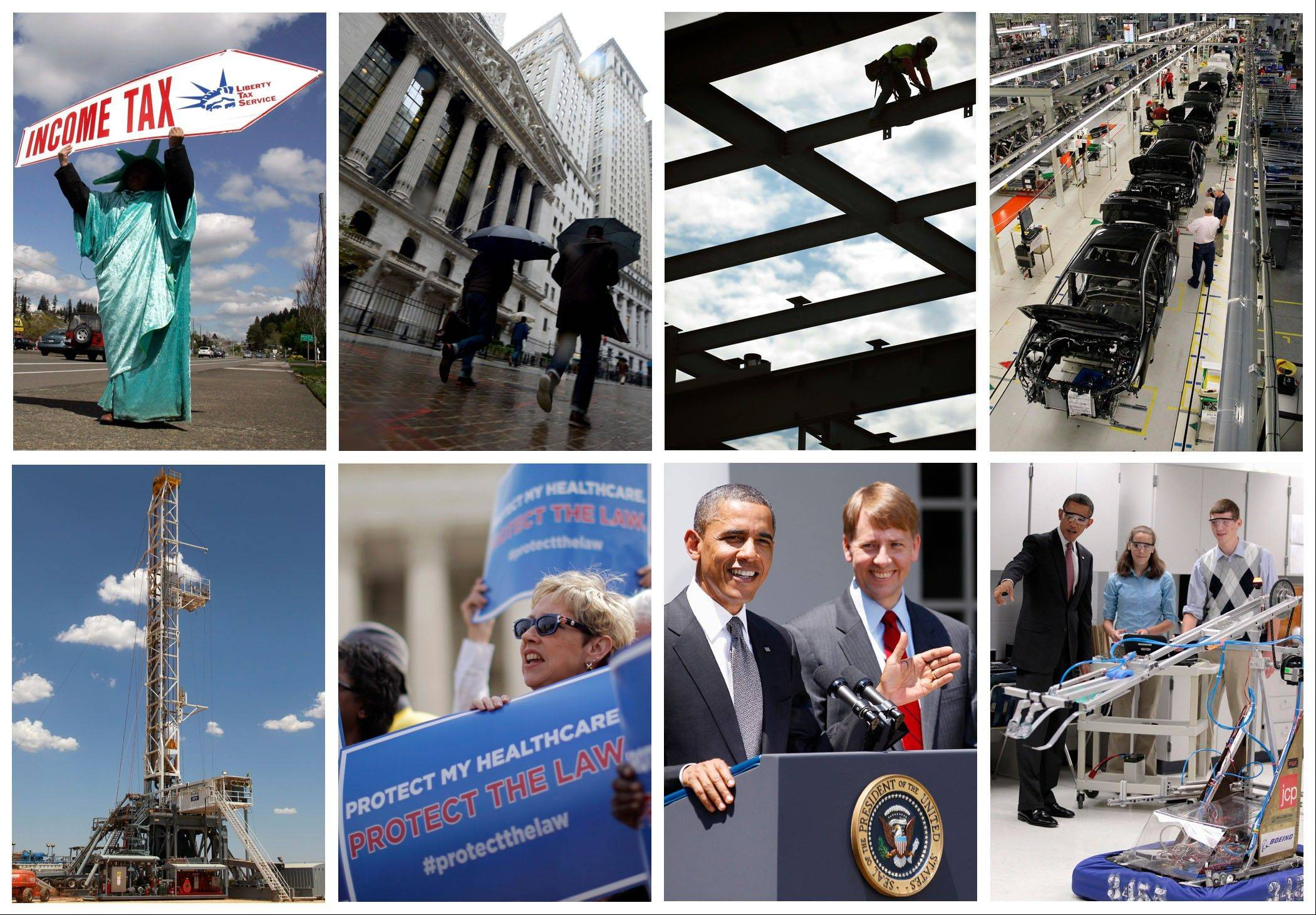 This combination of photos shows some of the key economic sectors that could be impacted by America's decision to re-elect President Barack Obama over Republican presidential candidate, former Massachusetts Gov. Mitt Romney.