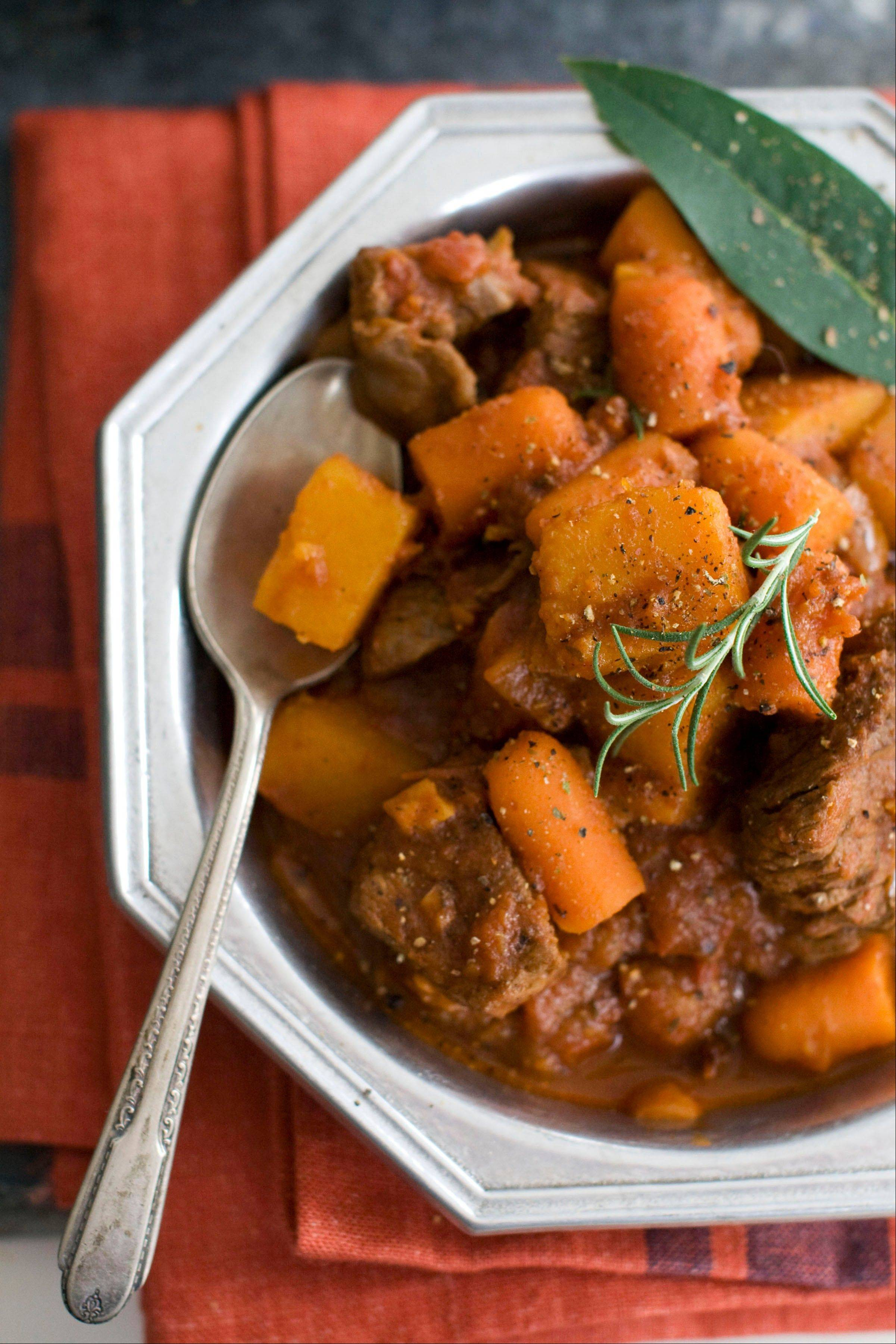 Speedy Beef and Butternut Stew tastes like it's simmered all day; it really cooks in about 30 minutes.
