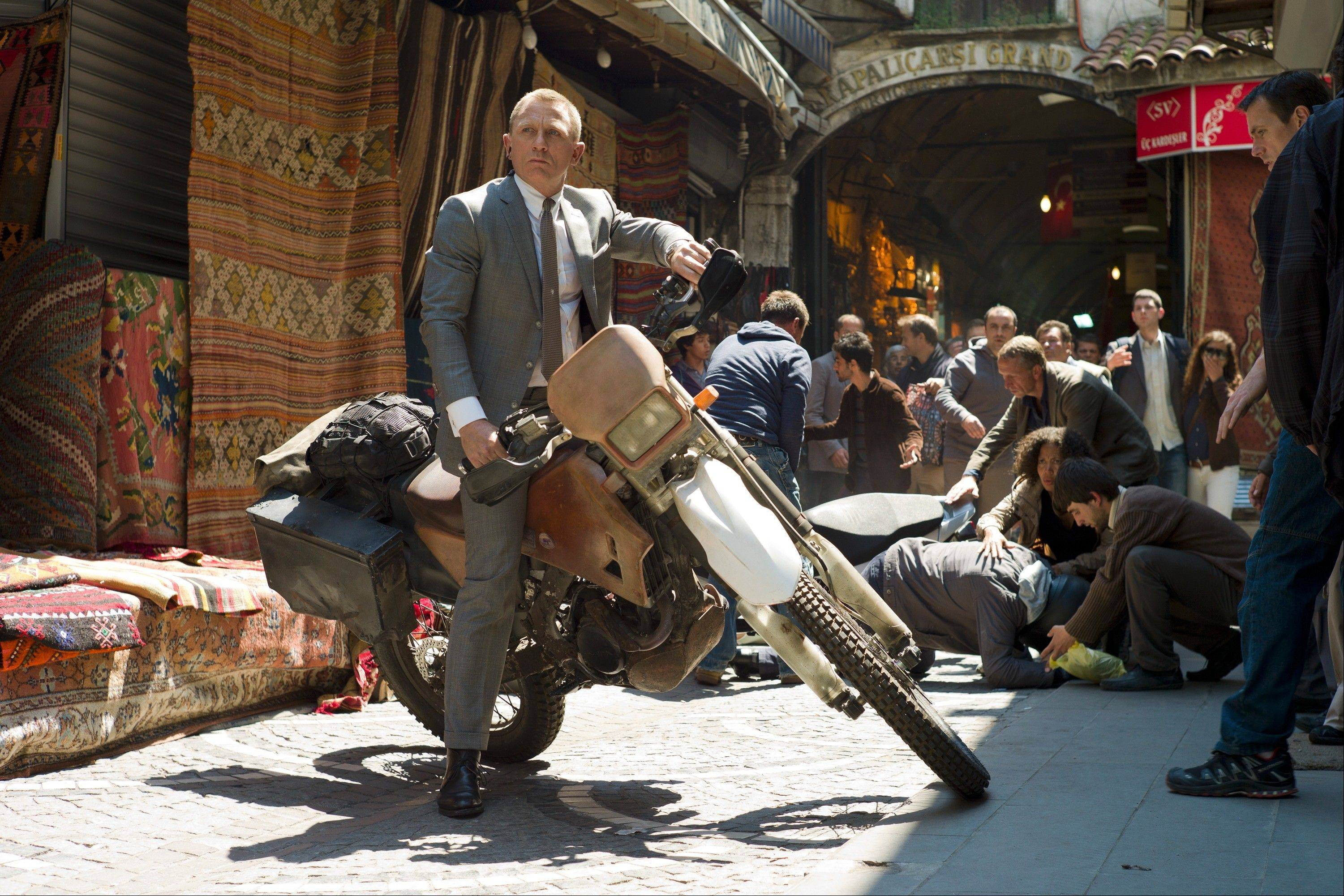 "James Bond (Daniel Craig) takes to the streets in a thrilling chase during ""Skyfall,"" directed by Sam Mendes."