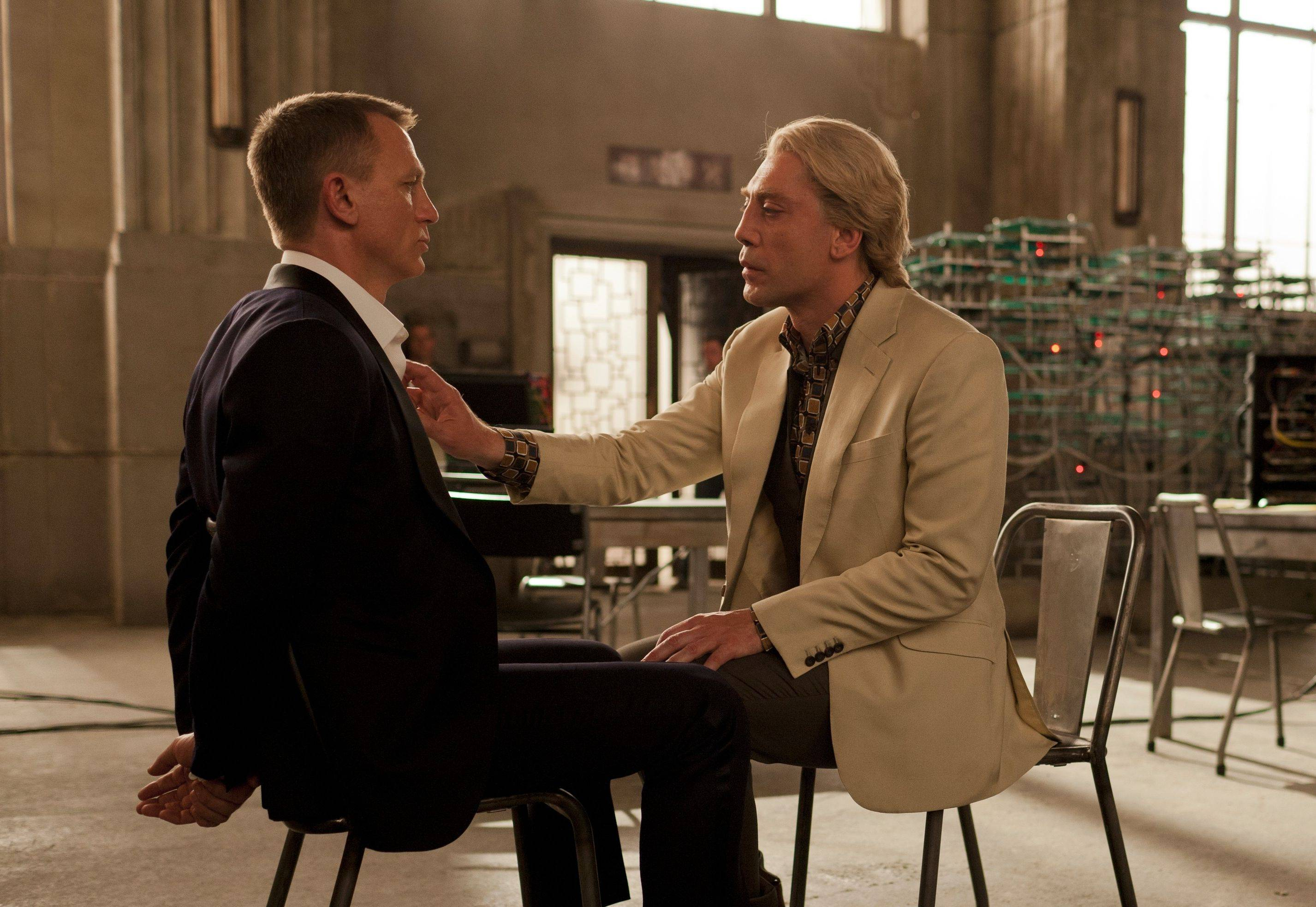 "James Bond (Daniel Craig) appears to be at a disadvantage in the presence of a genuinely unhinged villain (Javier Bardem) in ""Skyfall."""