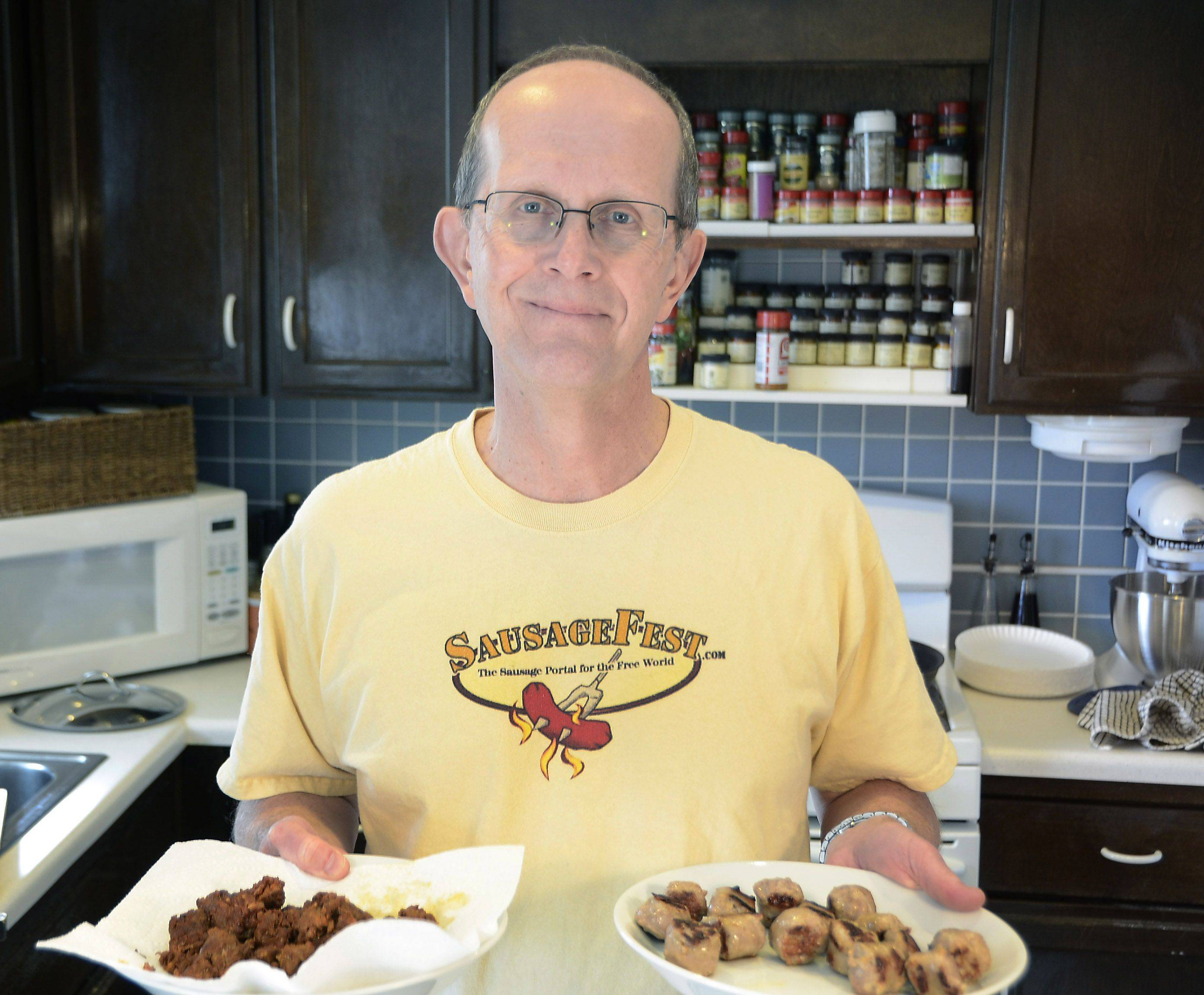 Kent Kleiva of Palatine shares his enthusiasm for encased meats through his annual end-of-summer SausageFest party and his website of the same name.