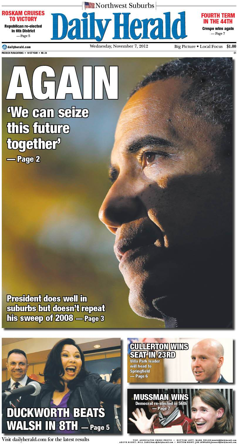 Our front page reflecting Obama's re-election as president of the United States.