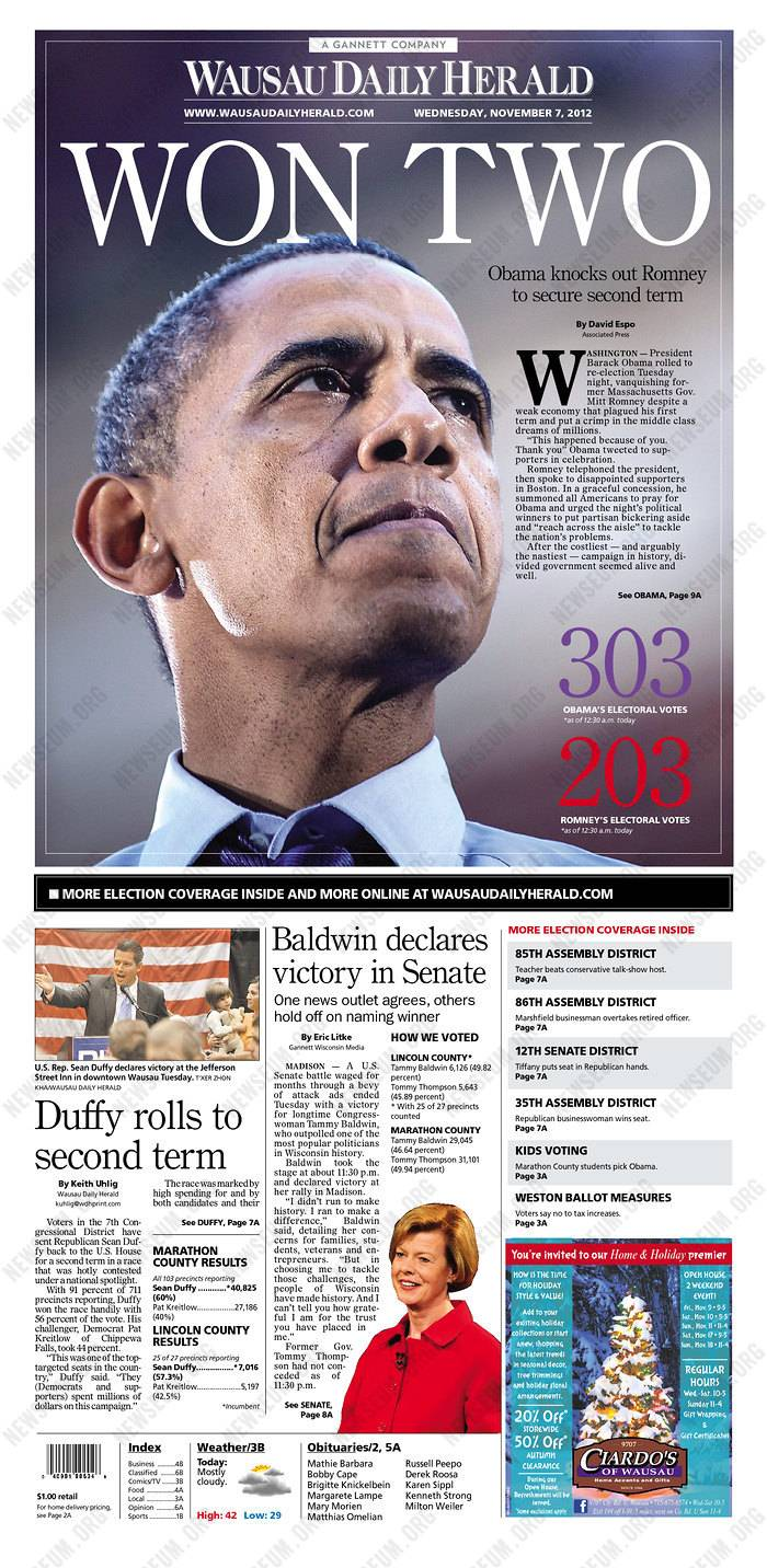 Front pages of newspapers from around the world reflect the results of Tuesday's election.