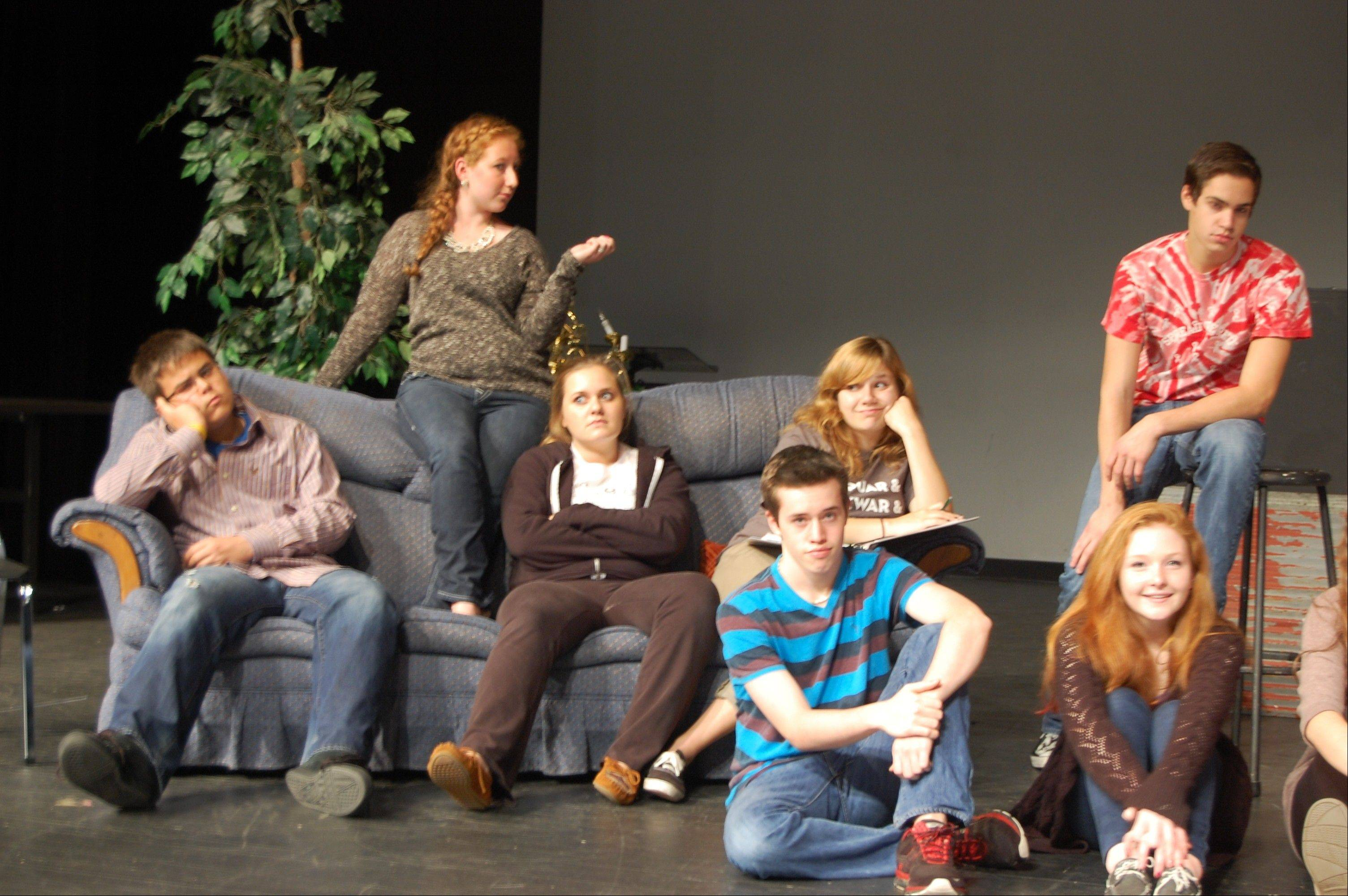"Geneva High School students will present ""Laughing Stock,"" a funny, affectionate look at the world of summer stock on Friday to Sunday, Nov. 9-11. From left are Marc Belon, Megan Grant, Meredith Dillon, Zane Shaw, Becca Grischow, Angelo Gulfuso and Margot Downey."