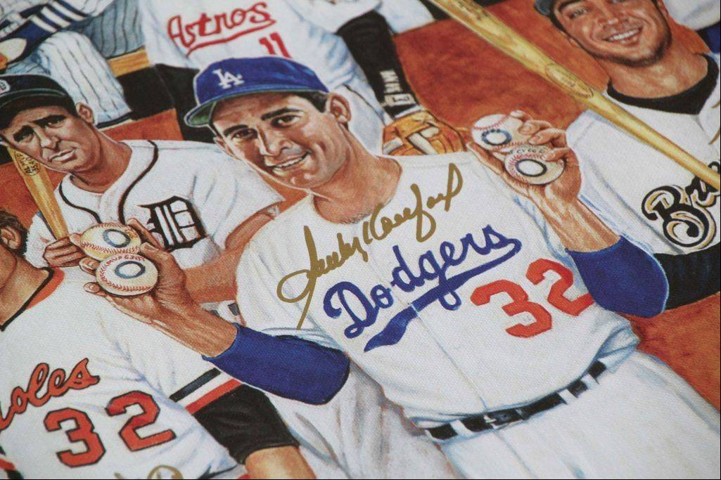 Pitcher Sandy Koufax was one of the famous players who autographed lithographs that commemorate the role of Jews in Major League Baseball. A few of the autographs were done in gold ink.