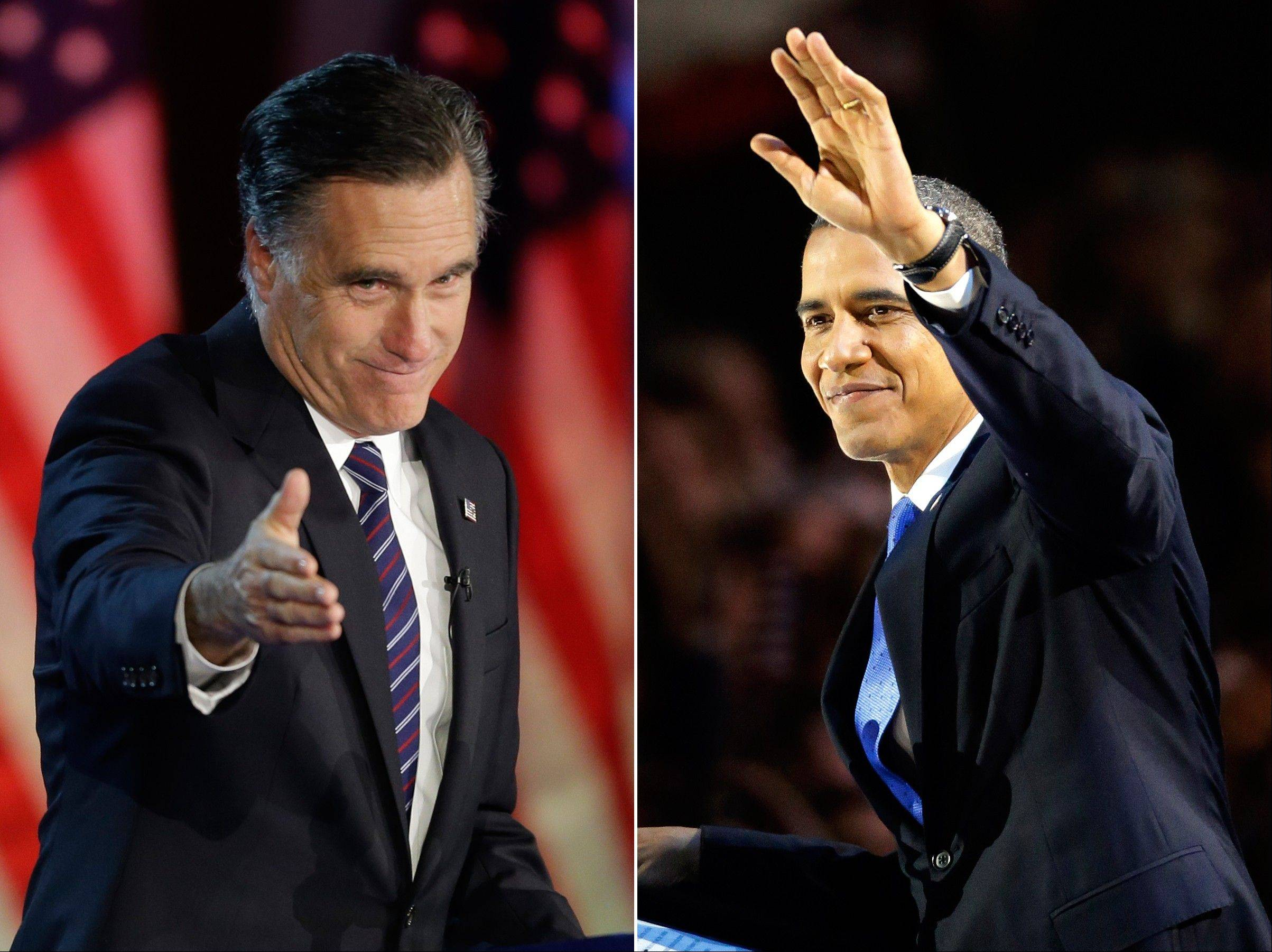 In this photo combo, Republican presidential candidate, former Massachusetts Gov. Mitt Romney gestures to supporters during his election night rally in Boston, left, and President Barack Obama waves to the crowd of supporters at his election night party in Chicago, Wednesday, Nov. 7, 2012. Obama defeated Romney to win a second term.