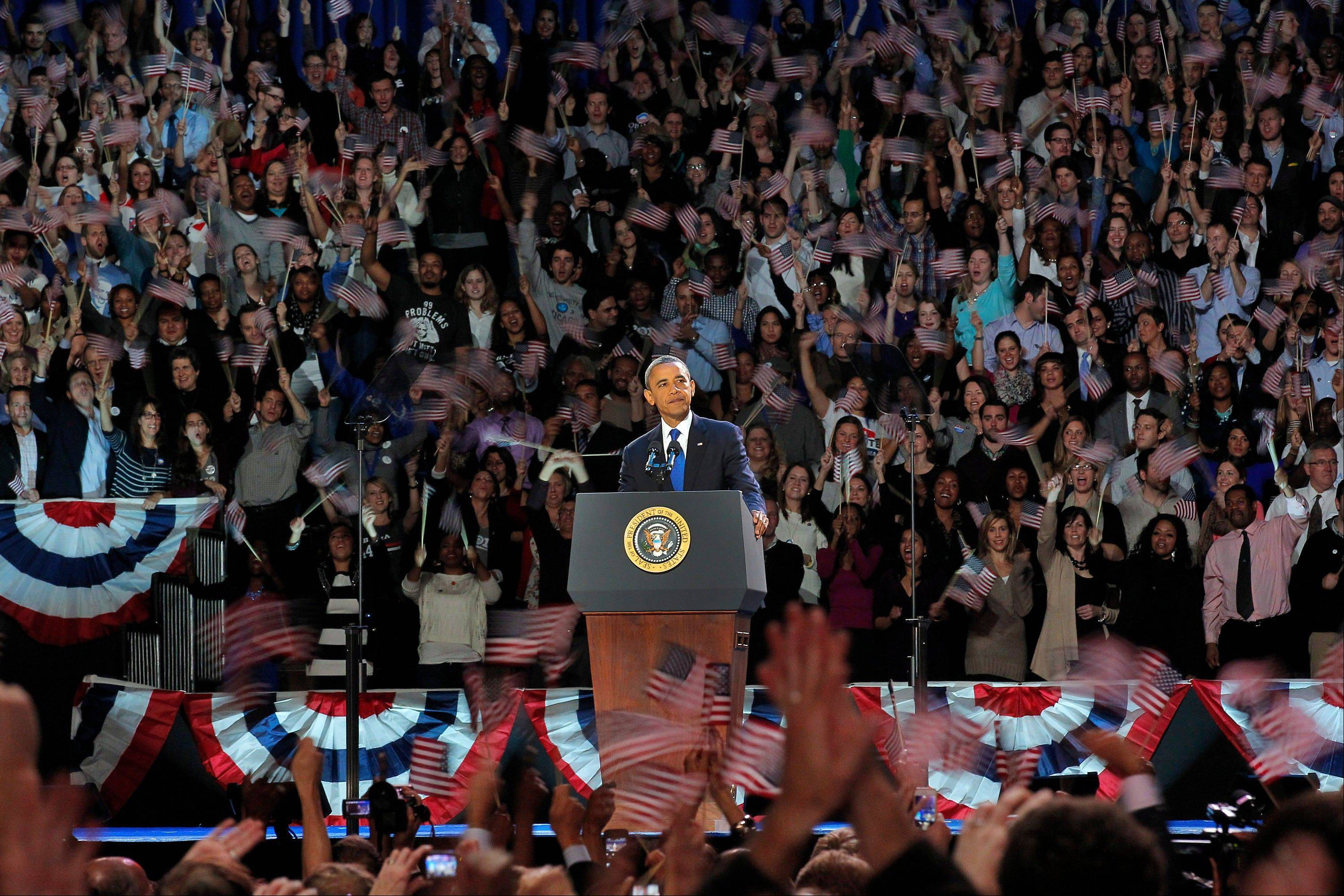President Barack Obama speaks at his election night party, Wednesday, Nov. 7, 2012, in Chicago.