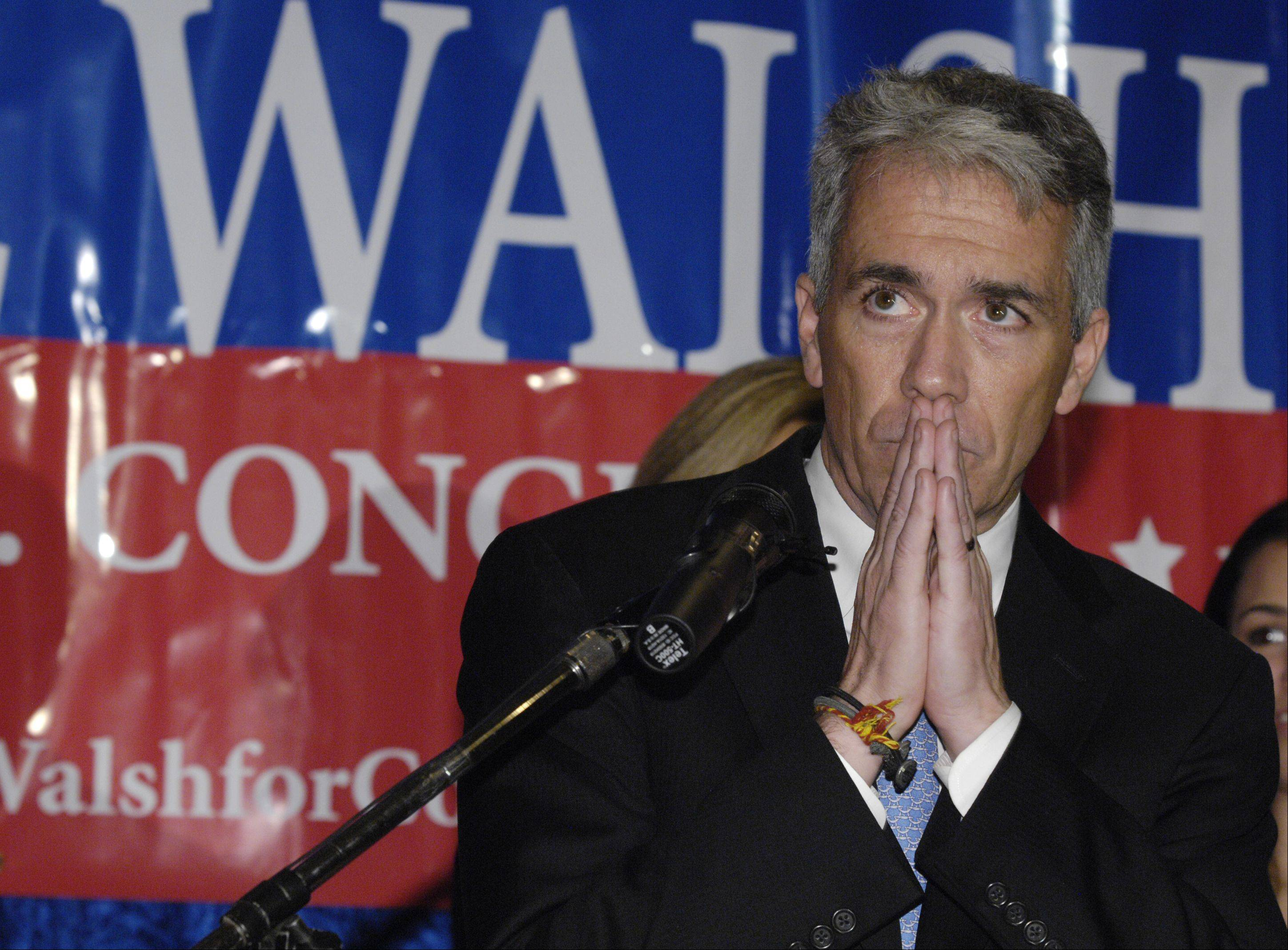 8th District Congressman Joe Walsh speaks to supporters as he concedes defeat to Tammy Duckworth during an election night event at the Medinah Shrine Center in Addison.