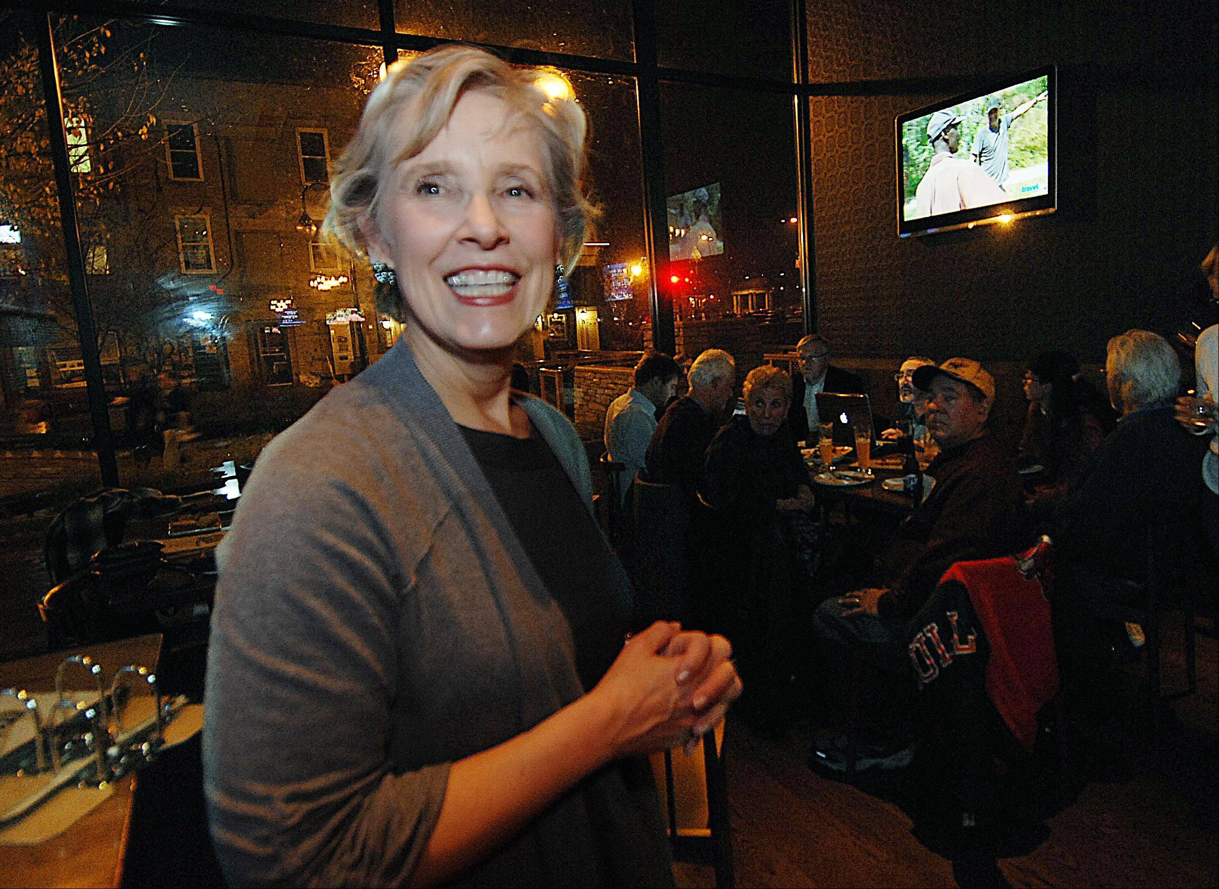 25th District Senate candidate Corinne Pierog attends an election night party at Wild Monk in St. Charles.