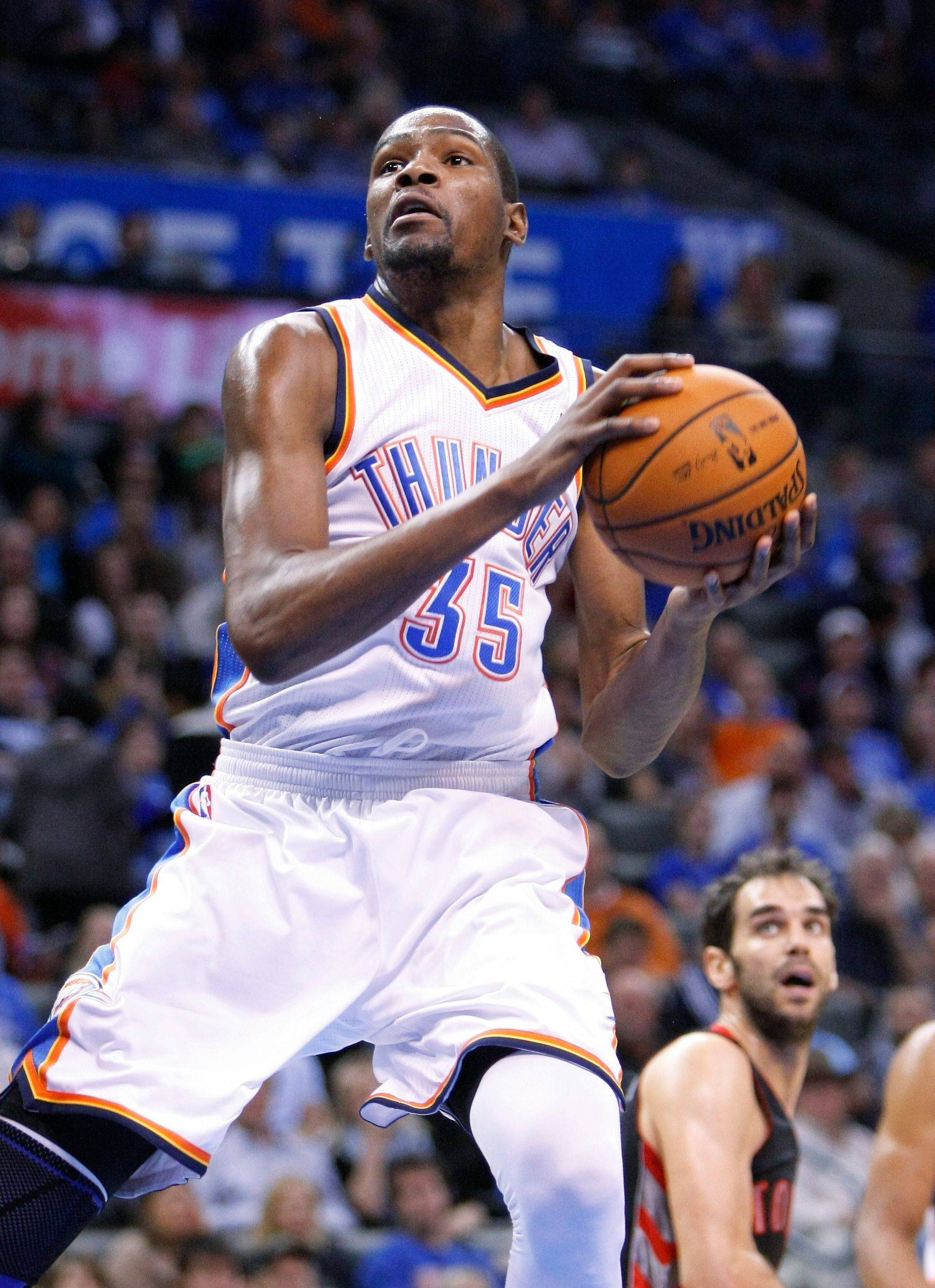 Forward Kevin Durant and the Thunder face the Bulls tonight at the United Center.