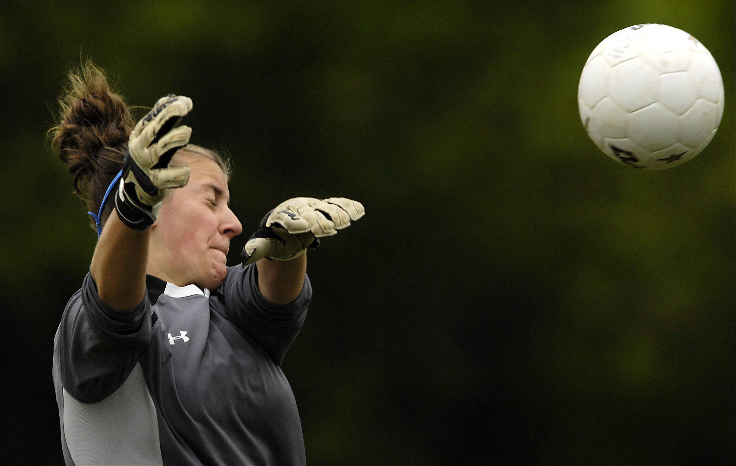 Monica Hinderer, here making a save for Willows Academy during her high school days, is one key for the Harper College team's national tournament effort, which gets under way today in New York.