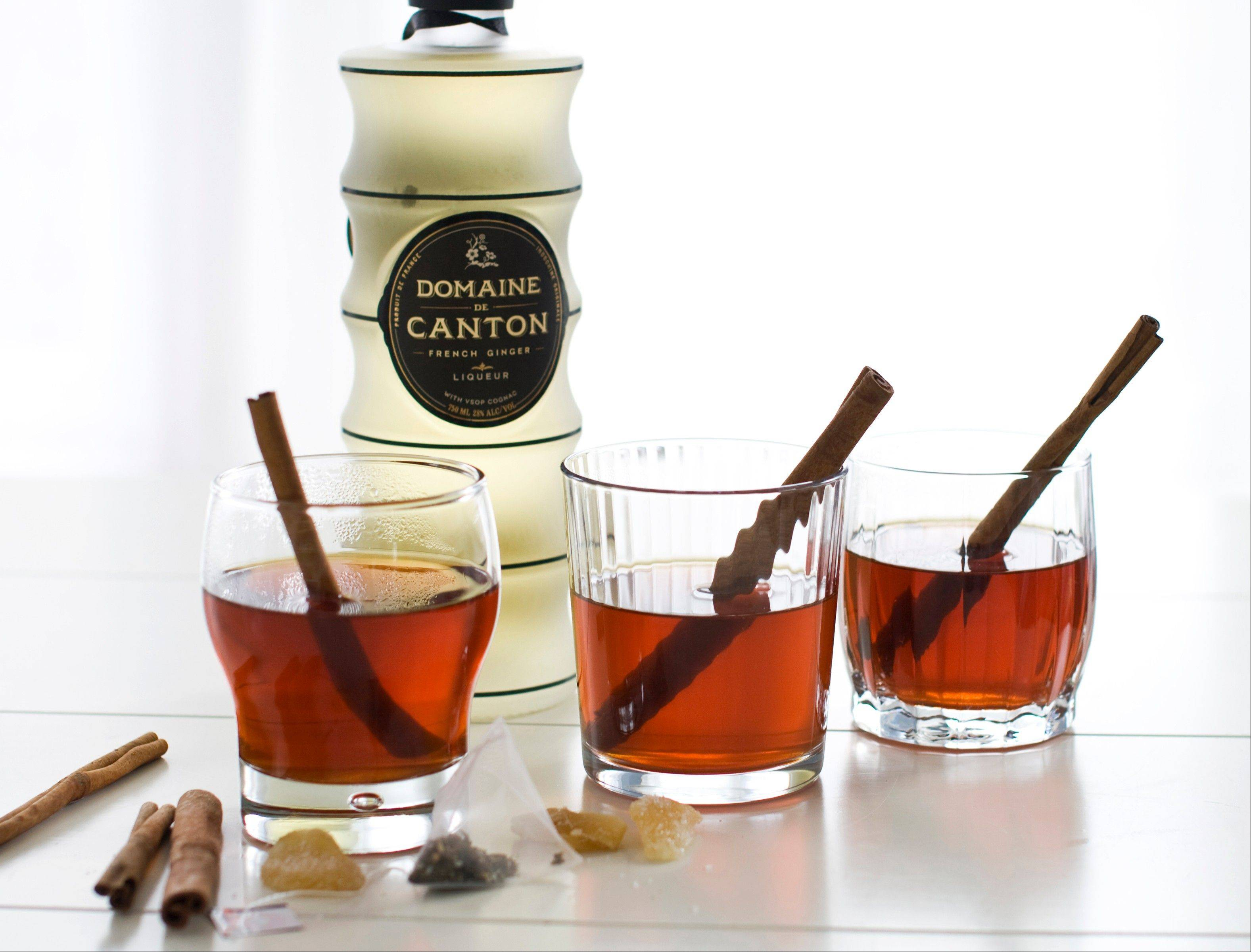 Canton, a French ginger liqueur, is served in cinnamon tea.