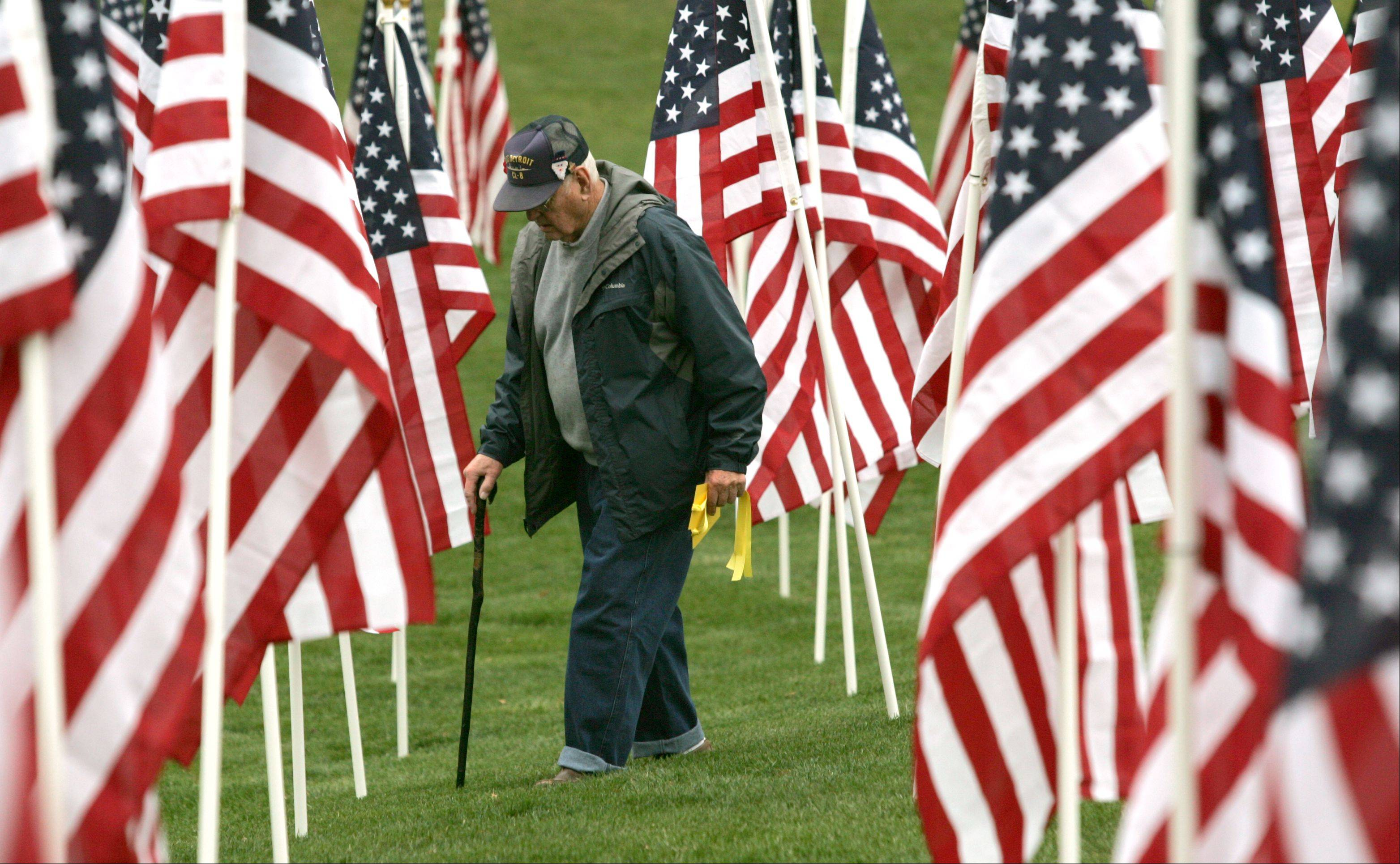 "George Hogrewe of Hinsdale carries a yellow tag to be attached to a flag at the ""Healing Field of Honor"" on Thursday at Naperville's Rotary Hill. The city's Veterans Day ceremony will be held at 11 a.m. Sunday at the field."