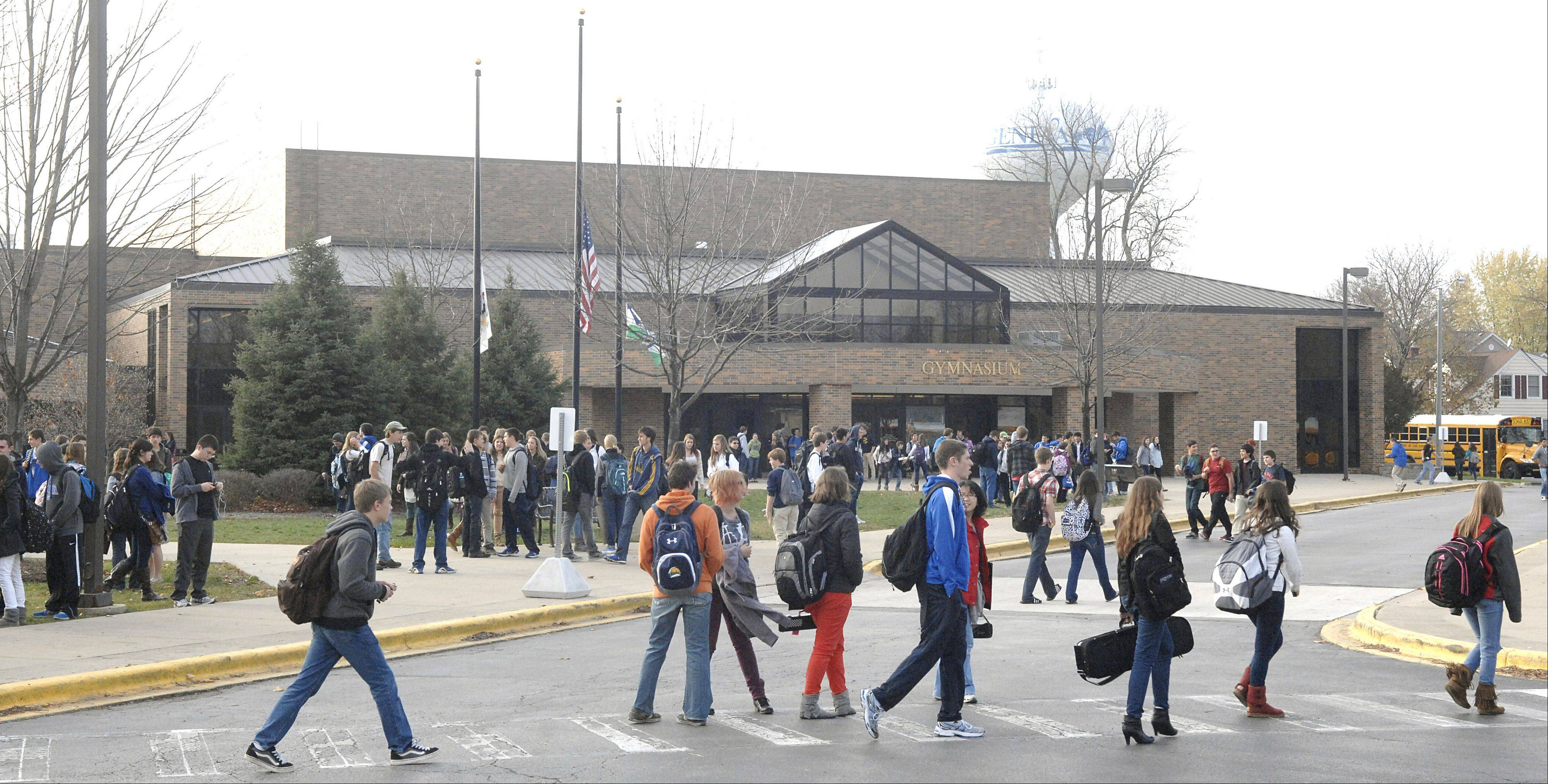 Students head out of Geneva High School Thursday afternoon. Teachers could strike as early as Friday but have not announced if they will do so. The teachers union and the school board met with a federal mediator Thursday afternoon and late into the night.