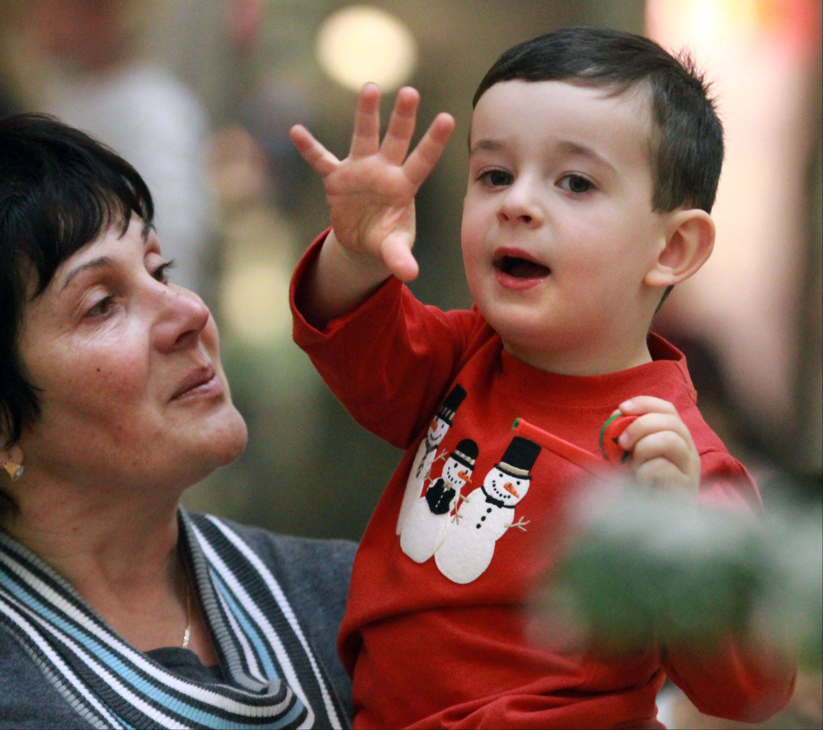 Daniel Stetsyk, 3, of Arlington Heights, is held by his grandmother Galina Stetsyk as he waves to Santa Claus during the parade at Woodfield Mall in Schaumburg on Thursday.