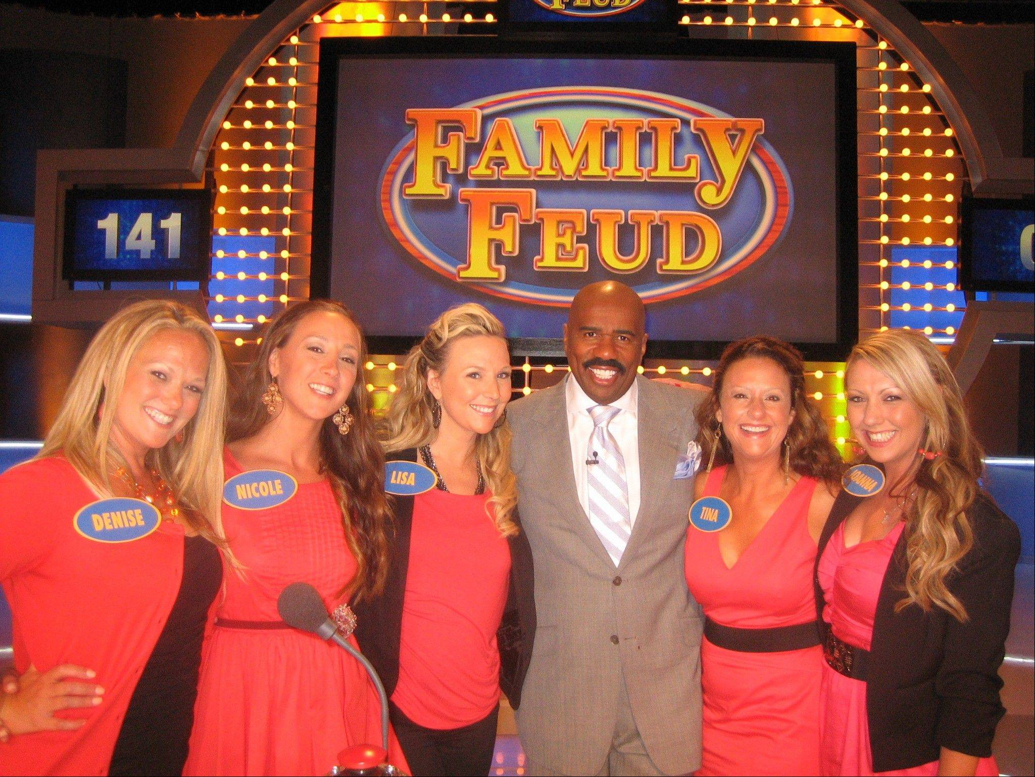 "Five sisters from the Northwest suburbs -- Tina O'Donnell, 42, of Mount Prospect, Lisa Altmeyer, 40, of Elgin, Denise Spallone, 37, of Park Ridge, Nicole Dubak, 35, of Des Plaines, and Joanna Molnar, 32, of Park Ridge -- are featured on tonight's episode of ""Family Feud"" after winning $20,500 in the first round Wednesday. The show, hosted by Steve Harvey, airs at 5 p.m. on WPWR-TV Channel 50. The siblings appear on the show again at 5 p.m. Friday."