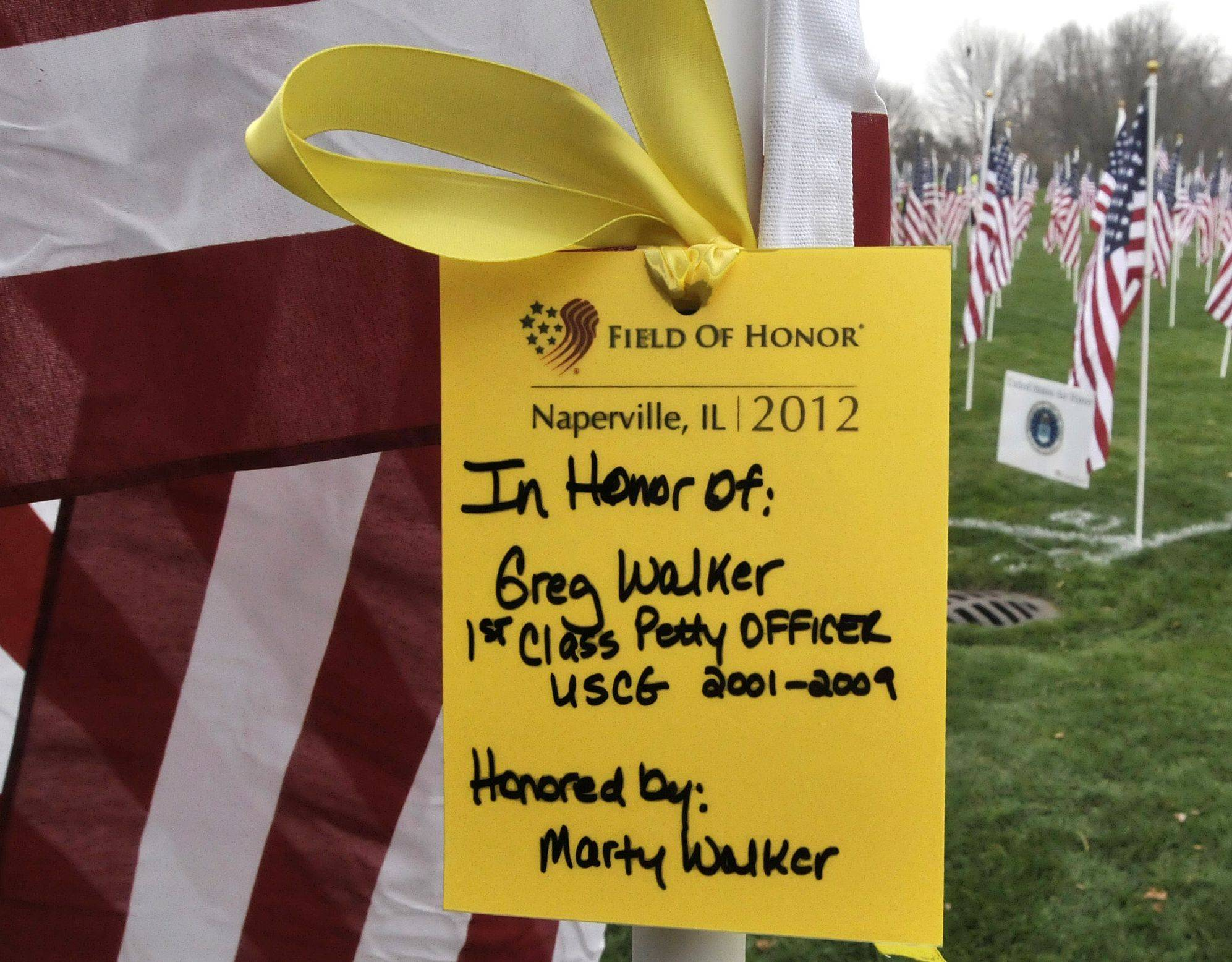 Attendees at this weekend's Naperville Healing Field of Honor America can honor specific service members by attaching yellow tags to a flag at the display.