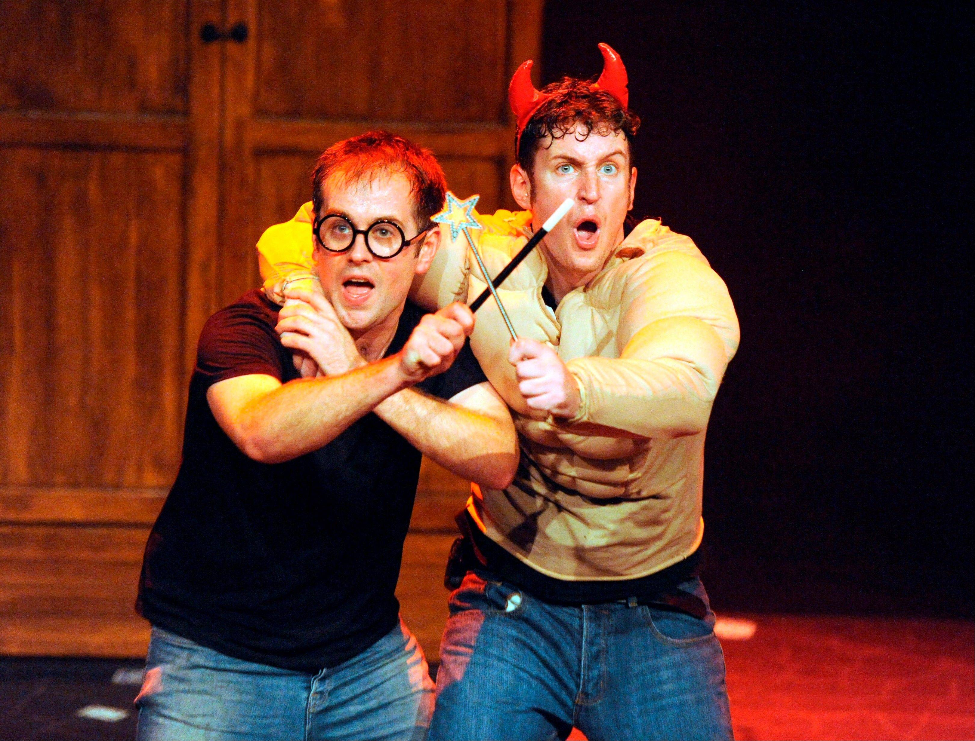 "Jeff Turner, left, and Daniel Clarkson race through all seven Harry Potter tomes in a mere 70 minutes for ""Potted Potter: The Unauthorized Harry Potter Experience — A Parody by Dan and Jeff,"" heading to the Broadway Playhouse at Water Tower Place."