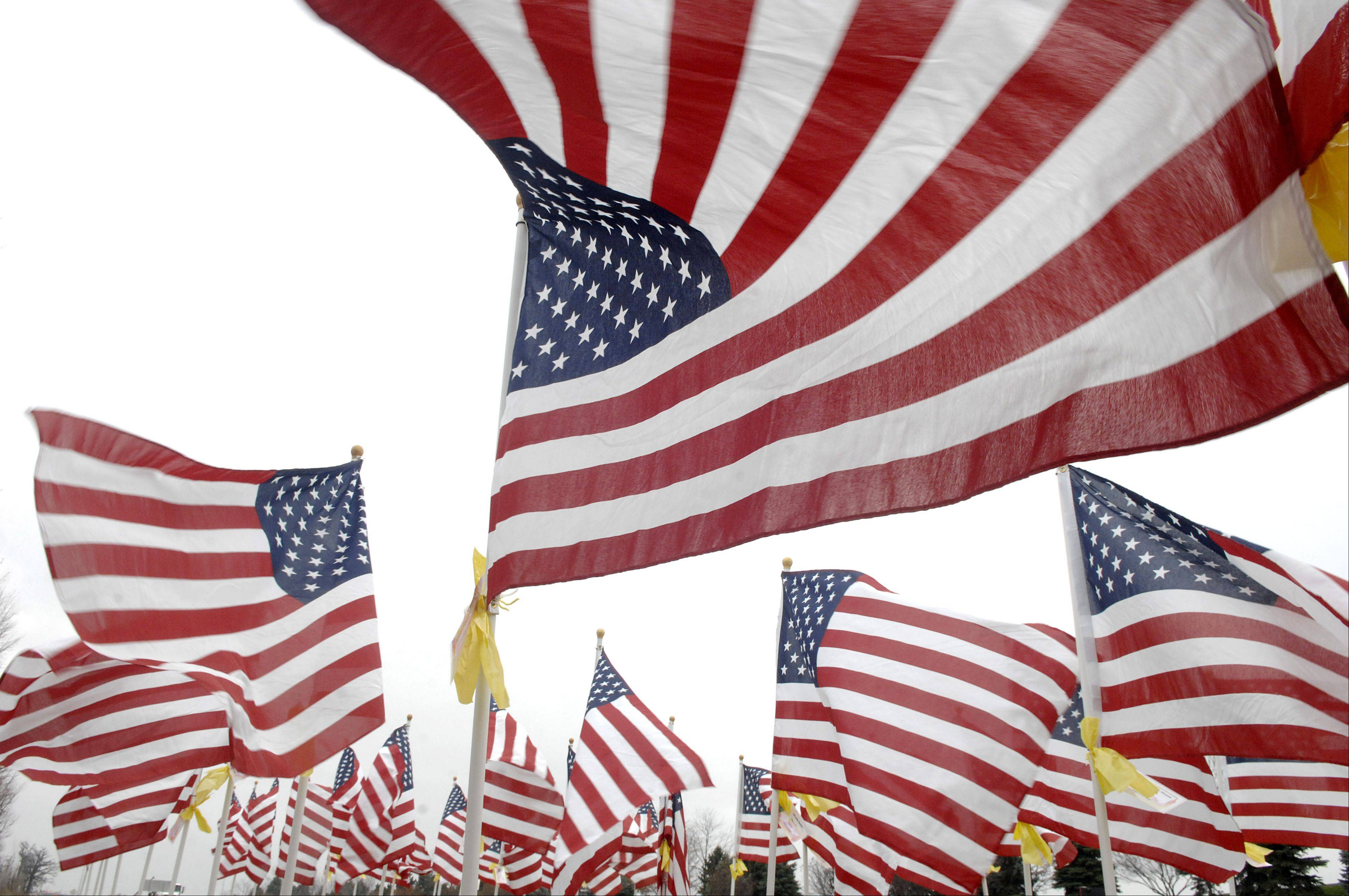 The 323 American flags at Route 47 near Oak Creek Highway in Huntley, represent all of the Illinois soldiers who have been killed since Sept. 11, 2001. The display was put on in conjunction with the True Patriots Care Foundation, which is based in Carpentersville, Culver�s restaurant and Drendel�s Corner, both in Huntley.