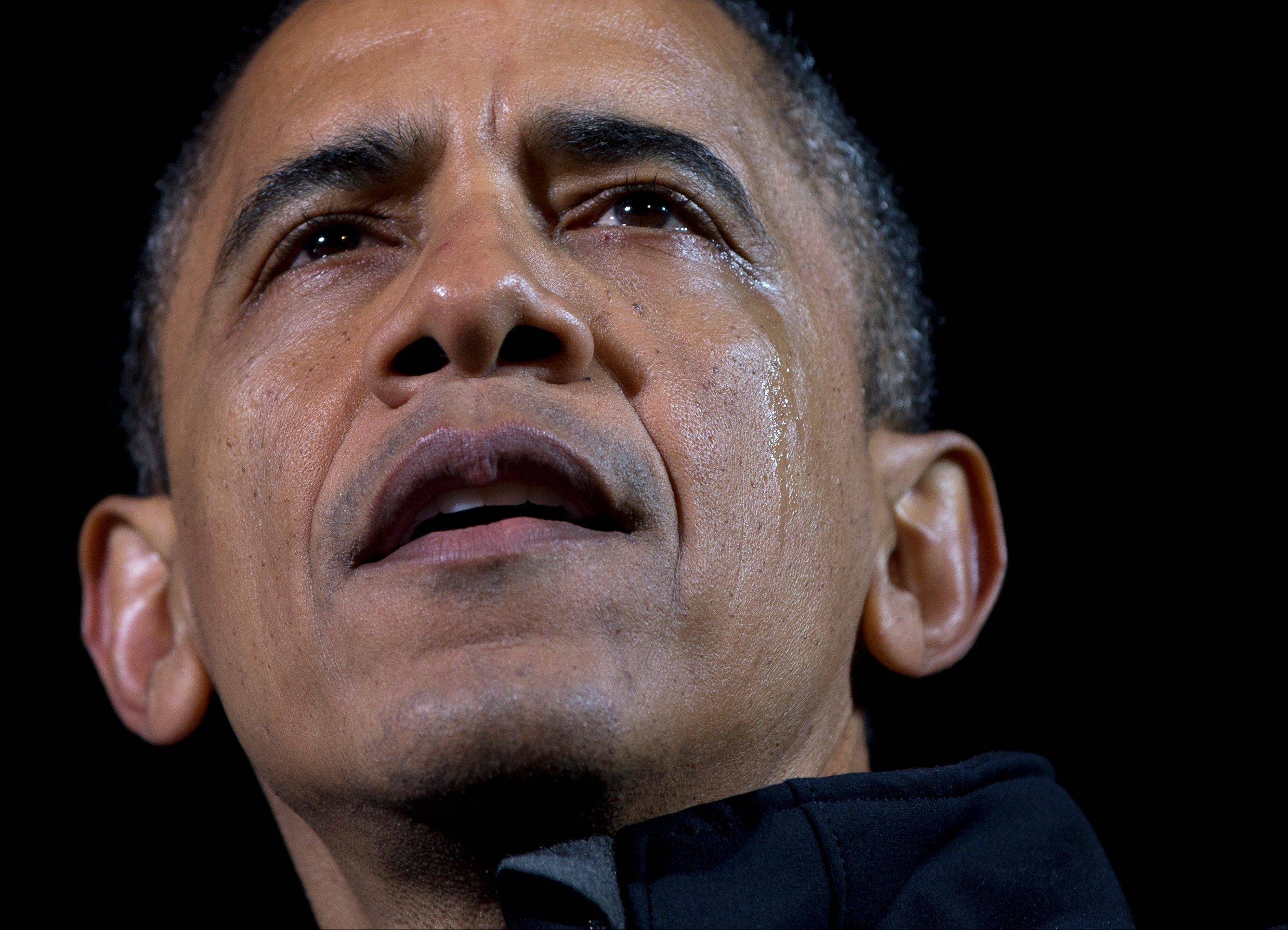 Tears run down the cheek of President Barack Obama as he speaks at his final campaign stop on the evening before the 2012 election, in the downtown Des Moines, Iowa. Barack Obama isn�t the only world leader unashamed or unable to avoid being seen crying in public.