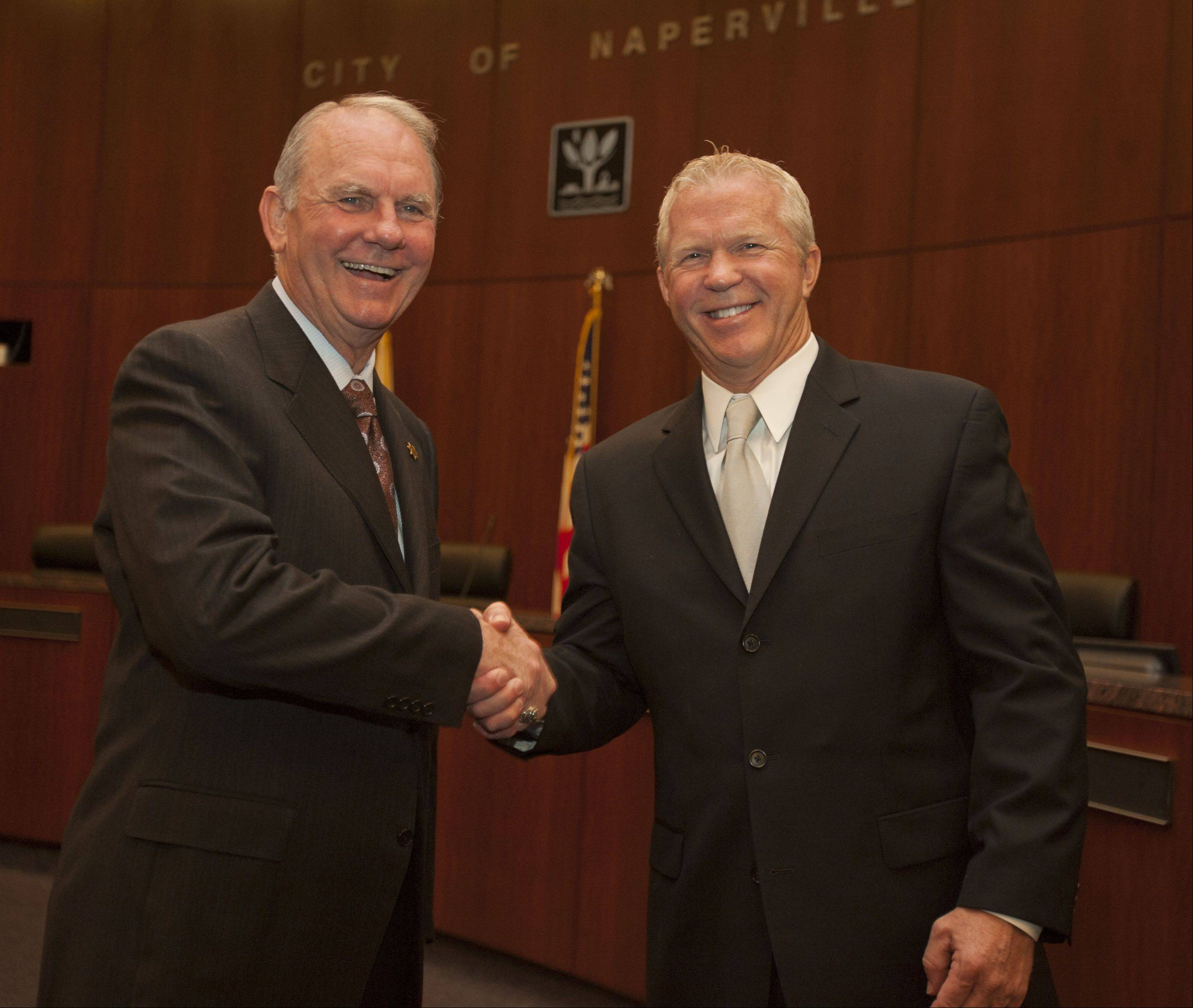 Former Naperville Police Chief David Dial, left, served as a consultant for three months to help new Chief Bob Marshall transition into the role.