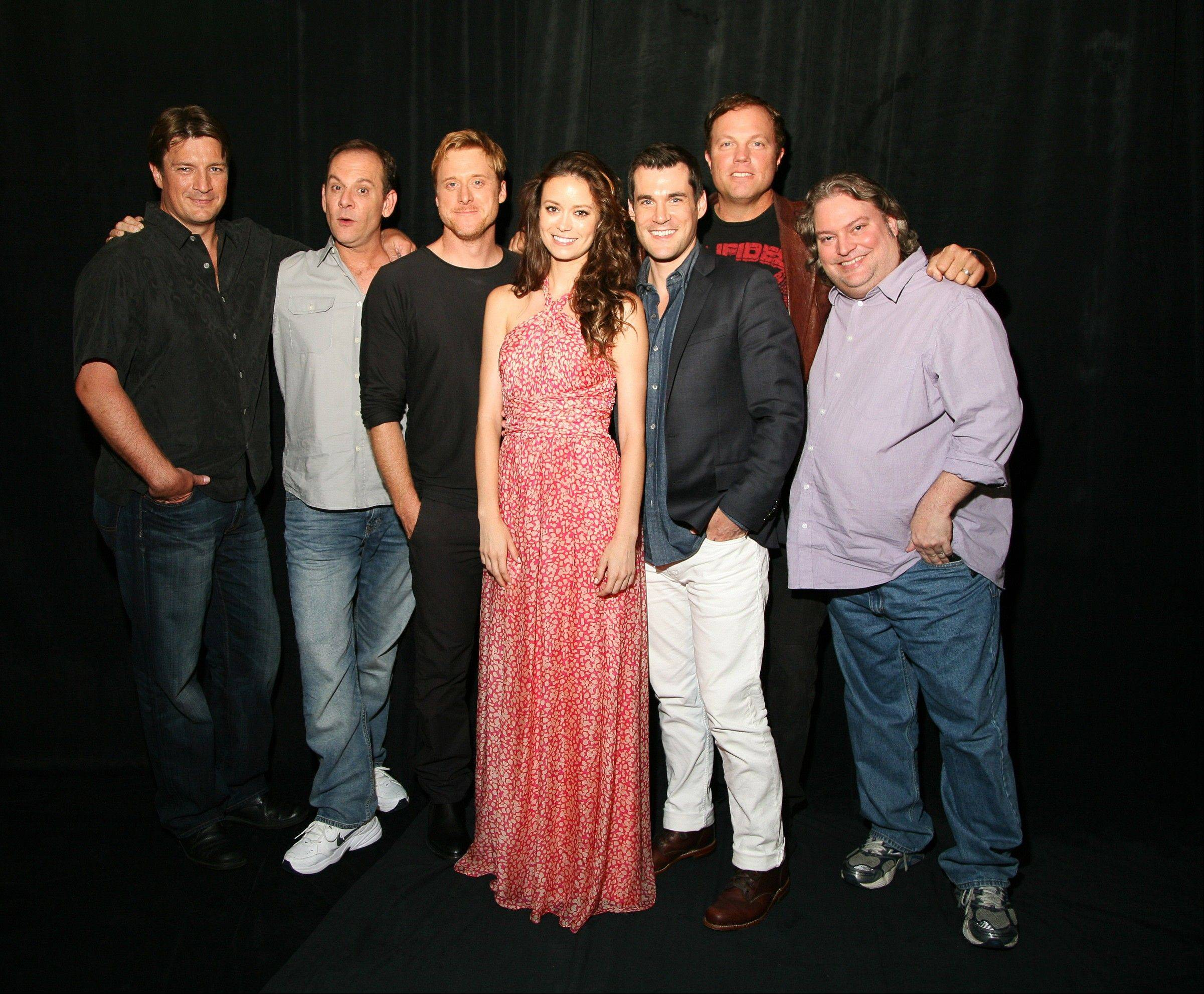 "The cast of ""Firefly"" -- Nathan Fillion, left, executive producer Tim Minear, Alan Tudyk, Summer Glau, Sean Maher, Adam Baldwin and executive story editor Jose Molina -- are reuniting for the 10-year anniversary of the series in the Science Channel Special, ""Firefly: Browncoats Unite,"" airing at 9 p.m. Sunday, Nov. 11."
