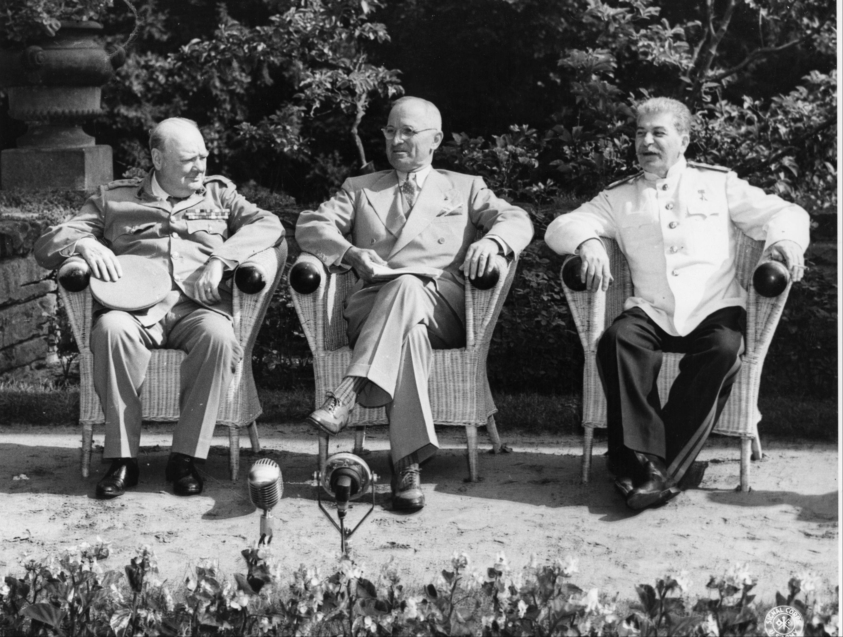 "Airing on Showtime, Oliver Stone's ""The Untold History of the United States"" looks at world events in a different light. Here, Winston Churchill, Harry S. Truman and Joseph Stalin are seen at Potsdam."