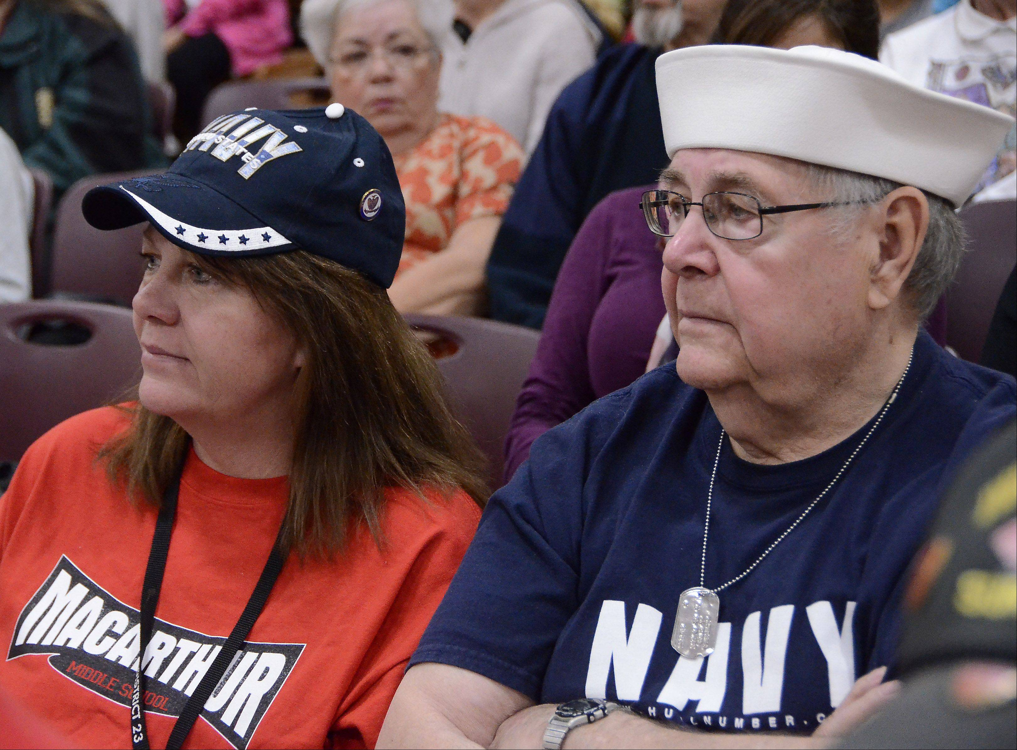 Seventh grade teacher Kim Brunner invited her father Edwin Obrachta of Huntley at the Veterans Day breakfast and assembly Friday at MacArthur Middle School in Prospect Heights. Obrachta served in the Navy during the Korean War.