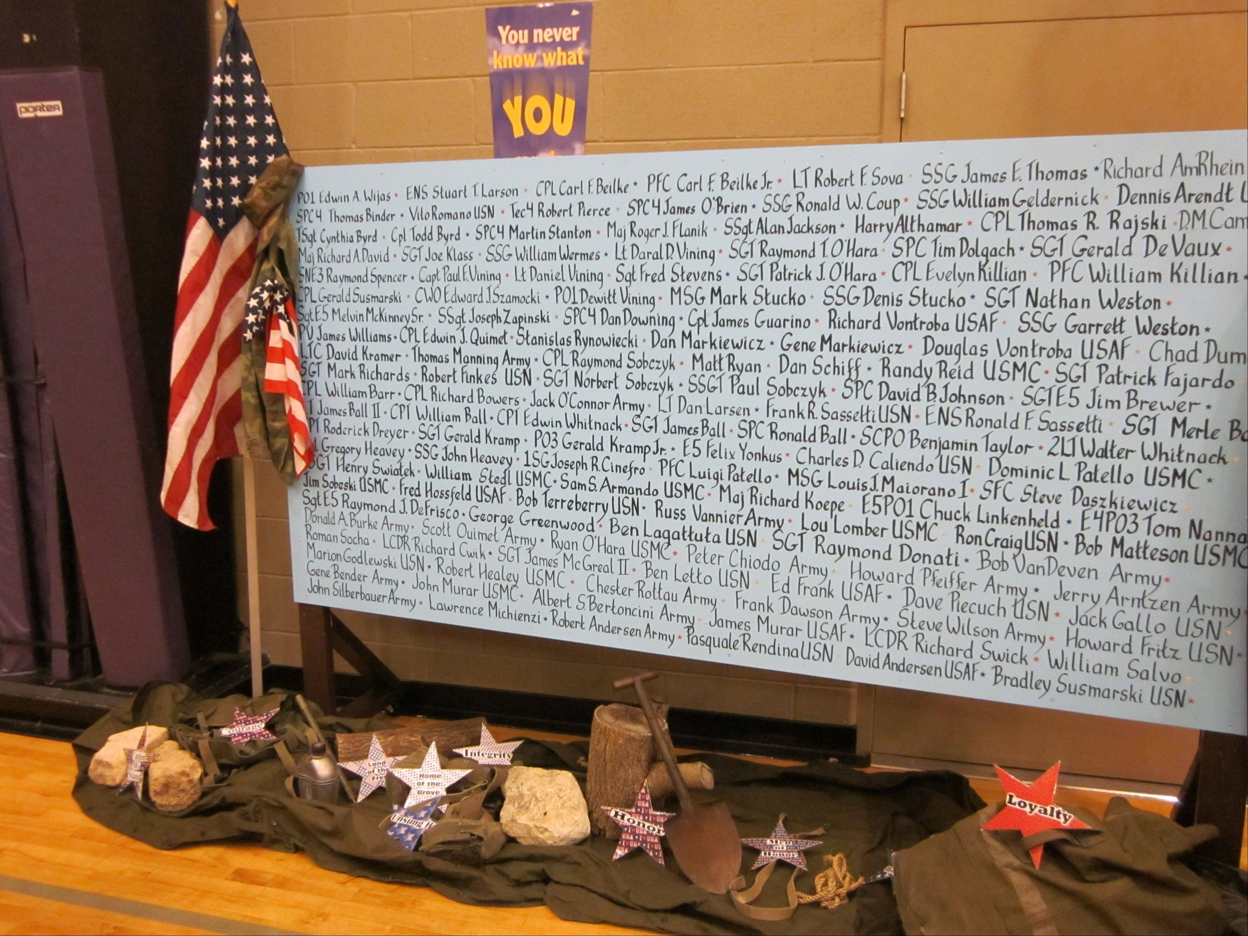 A wall with the name of veterans related to parish members and students at Saint Hubert Catholic School in Hoffman Estates was on display during a Veterans Day ceremony Friday at the school.