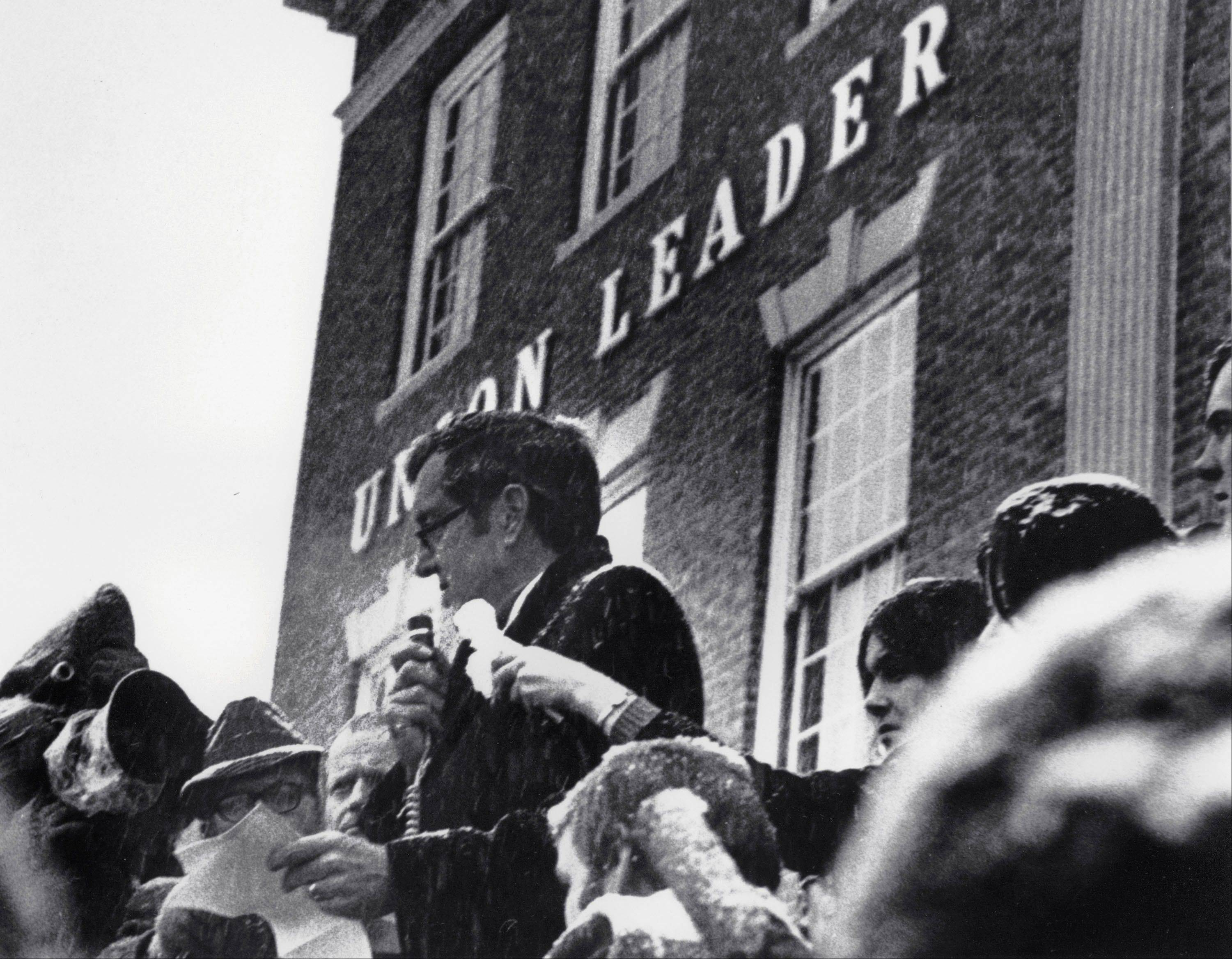 In 1972, Sen. Edmund Muskie, D-Maine, denounces conservative Manchester Union Leader publisher William Loeb in front of the newspaper's Manchester, N.H., building. Muskie's emotional speech came as he campaigned for the New Hampshire primary and the Democratic presidential nomination, which slid off the tracks after it was reported that he had cried in response to the newspaper's attack on his wife. Muskie sustained until his death that it had been melted snowflakes, not a tear, in his eye.