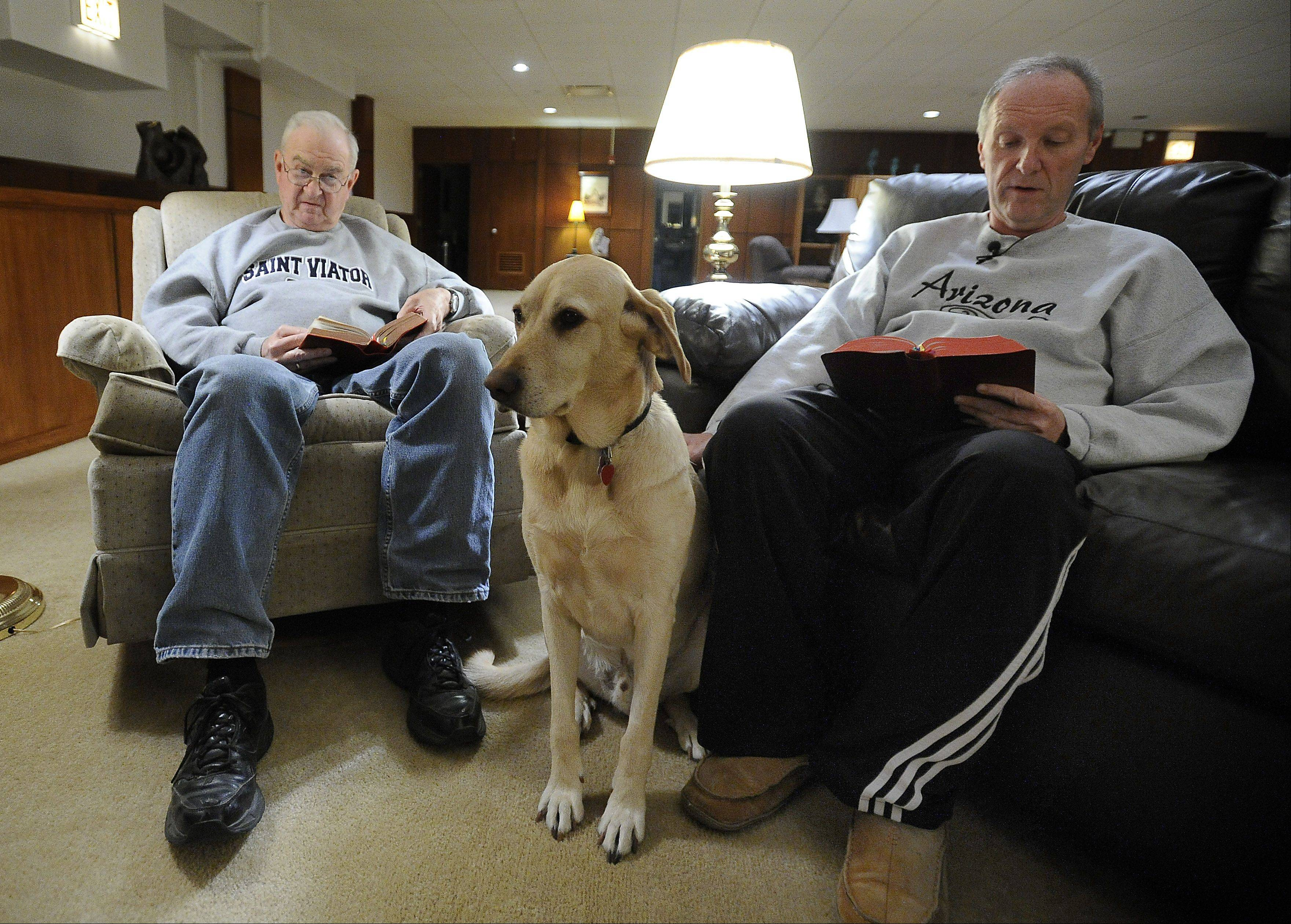 Father John Van Wiel and Brother Rob Robertson say evening prayers in their living room at St. Viator High School while Archie sits quietly by, knowing he will get a treat when they are finished.