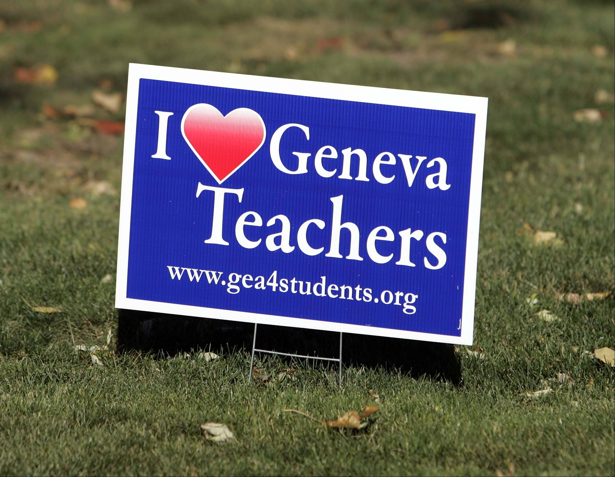 Signs supporting Geneva teachers were seen along Kaneville Road east of Randall Road on Oct. 12. Nearly a month later, we await word on whether the teachers will strike as soon as today.