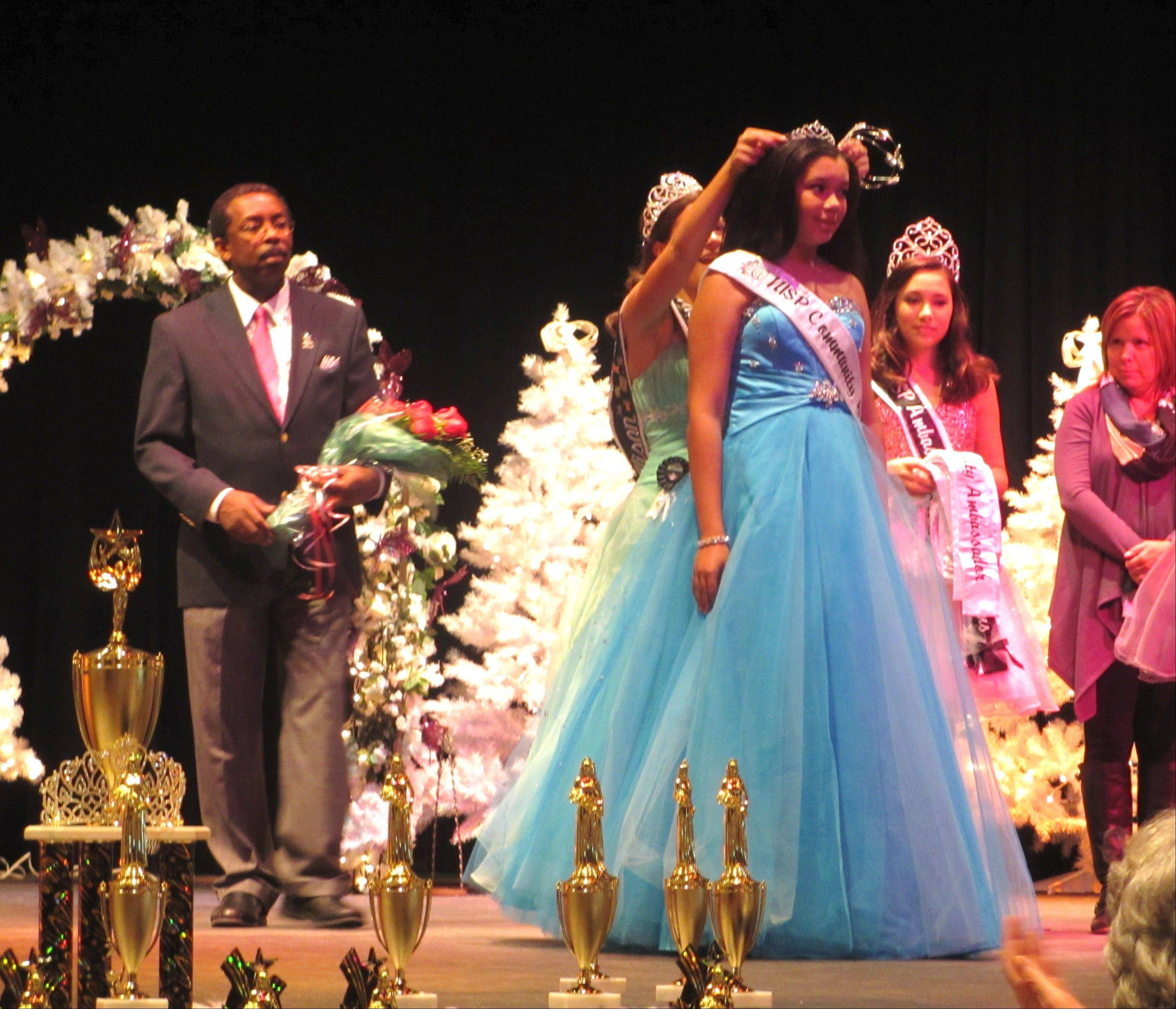 Arielle Christopher, 13, of Streamwood, is crowned Northern Illinois Scholarship Program Community Ambassador at the Northern Illinois Scholarship Program fall pageant.