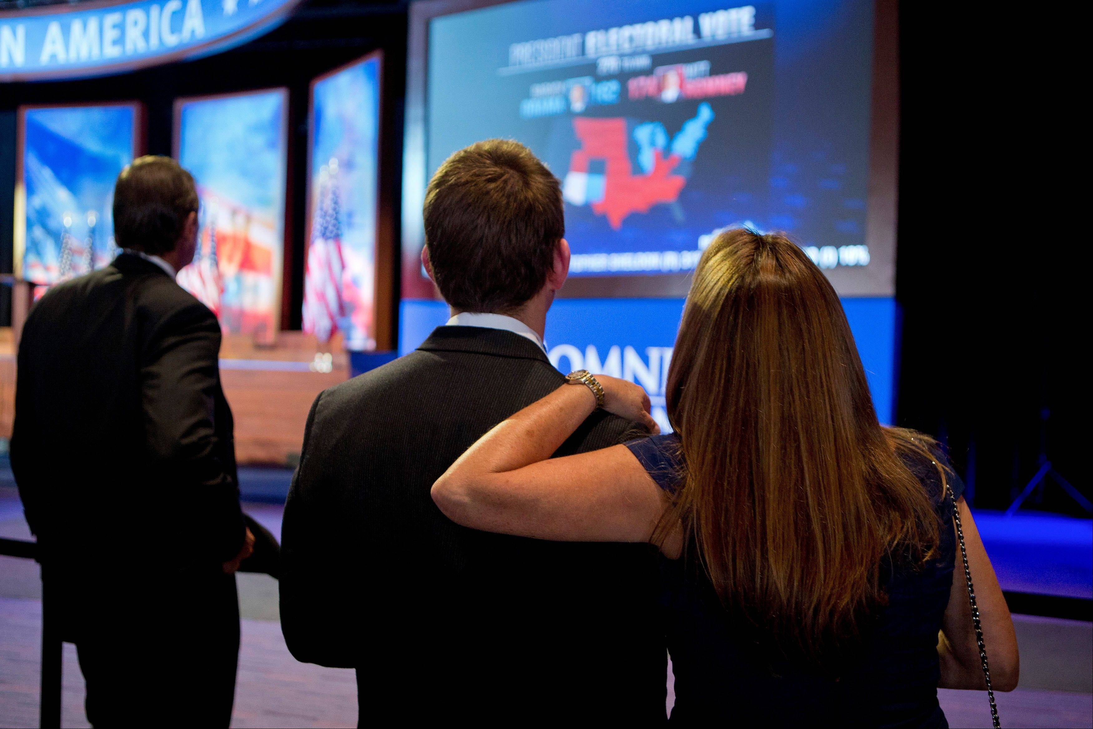 Supporters of Mitt Romney watch election results on a television screen Tuesday during an election rally at the Boston Convention and Exhibition Center in Boston. According to Twitter, there were 31 million tweets on Election Day, with the site hitting a peak of 327,452 tweets-per-minute the moment TV networks called the race for President Obama.