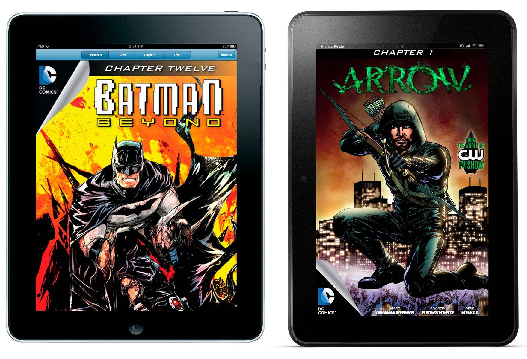 This combo made from product images provided by DC Entertainment shows a digital issue of �Batman Beyond� as seen on an iPad, and a digital issue of �Arrow� as seen on a Kindle Fire HD. In a nod to the expanding reach of tablets like iPads, Kindles and Nooks, DC Entertainment says it has begun selling all of its monthly comic book titles through e-stores operated by Apple, Amazon and Barnes & Noble.