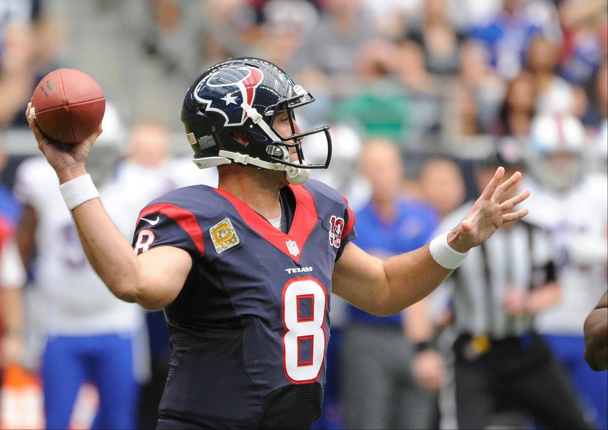 Houston Texans quarterback Matt Schaub has thrown only 4 interceptions this season, while the Bears have grabbed 17.