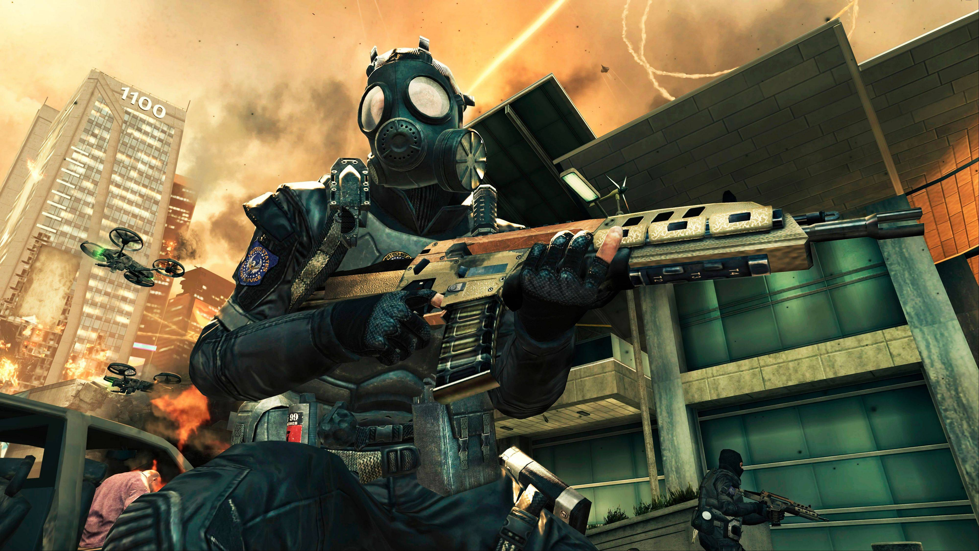 "This video game image released by Activision shows a scene from ""Call of Duty: Black Ops II."" The latest installment in the wildly popular ""Call of Duty"" video game franchise transports fans to a completely new place: the future. Setting half of ""Call of Duty: Black Ops II"" in the year 2025 could be the riskiest gambit yet for the successful shoot-'em-up series known for its relentless past-and-present realism."