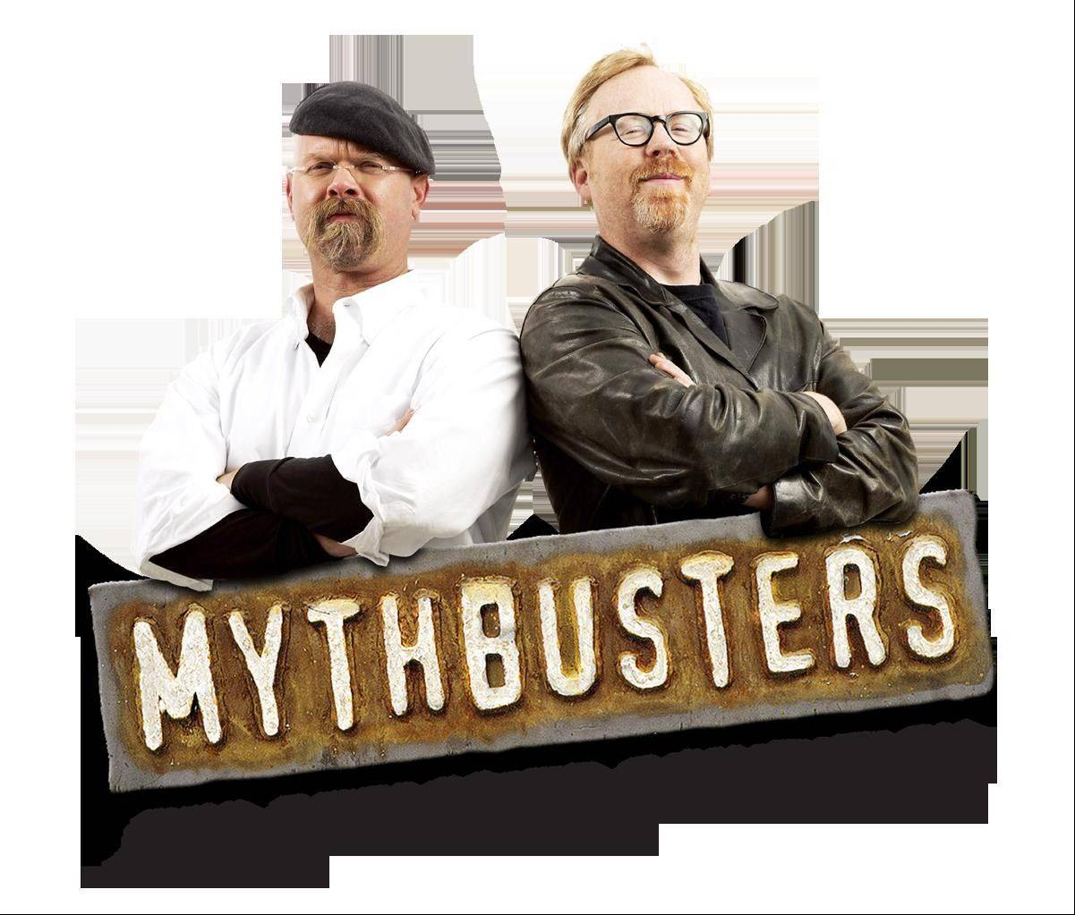 "Jamie Hyneman, left, and Adam Savage, stars of the Discovery Channel television show ""MythBusters,"" bring their live arena show ""MythBusters: Behind the Myths"" to the Sears Centre Arena in Hoffman Estates."