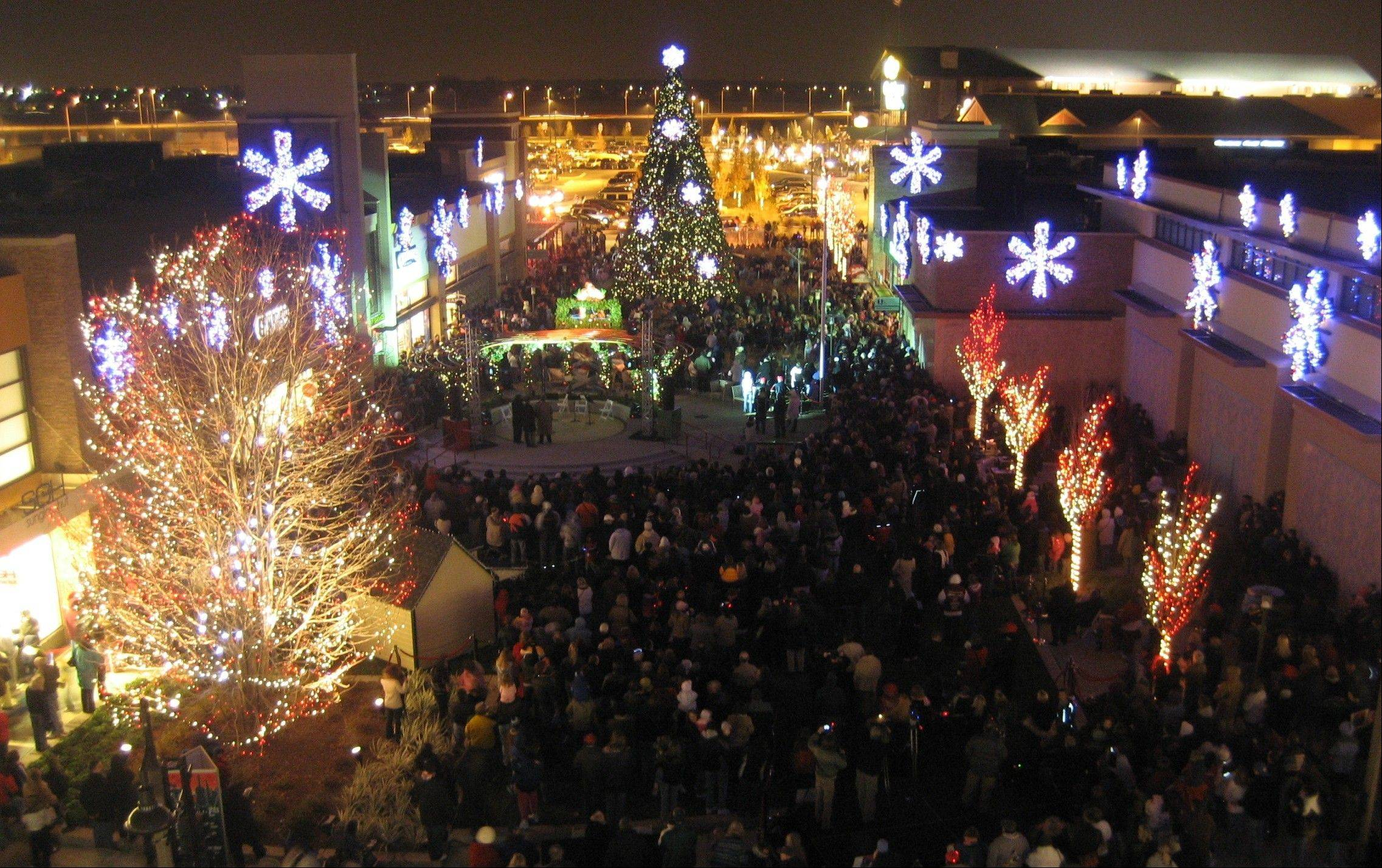 "More than 250,000 lights are showcased in the annual ""Symphony in Lights"" holiday light show at the Promenade Bolingbrook."